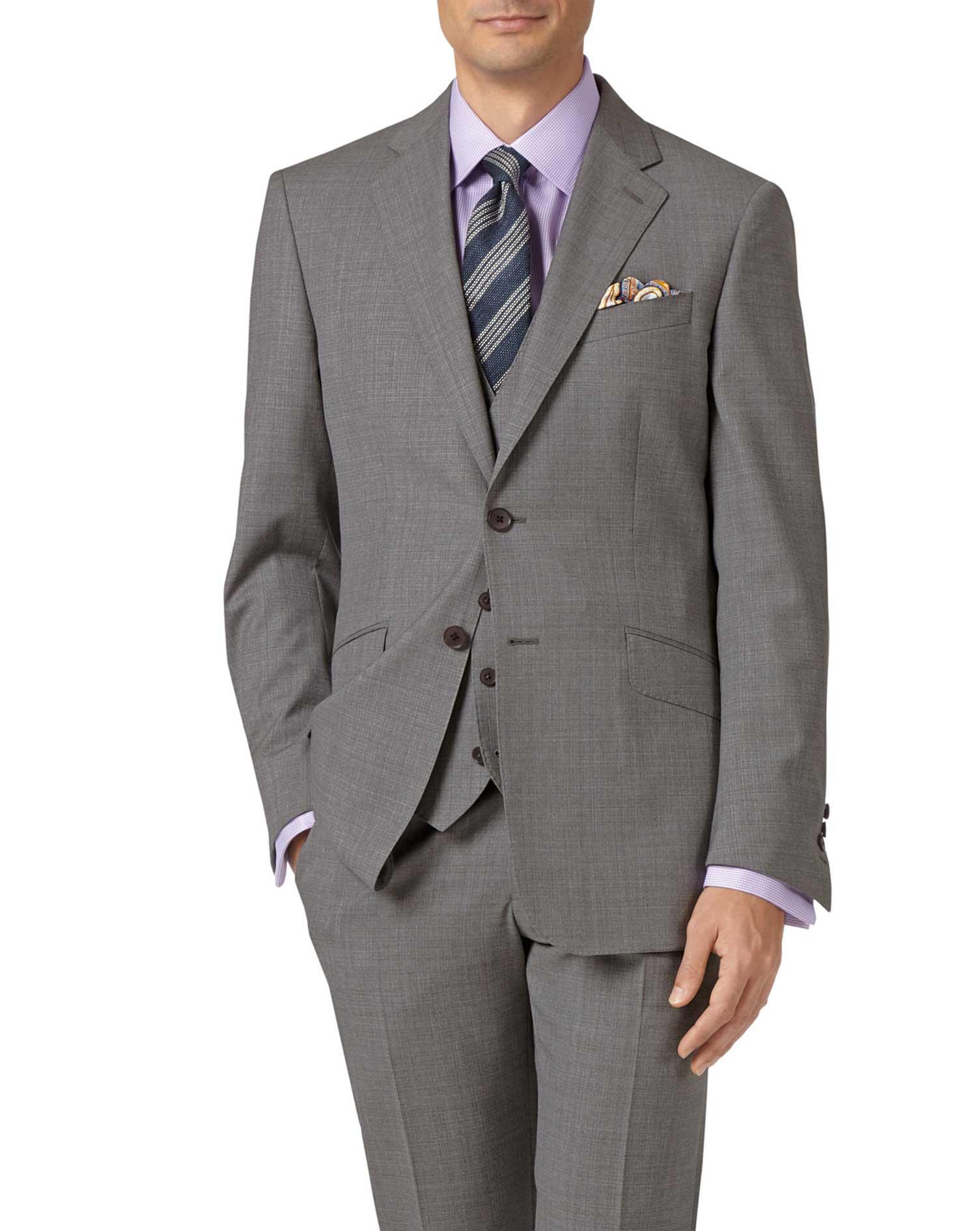 Silver Adjustable Fit Cross Hatch Weave Italian Suit Wool Waistcoat Size w48 by Charles Tyrwhitt