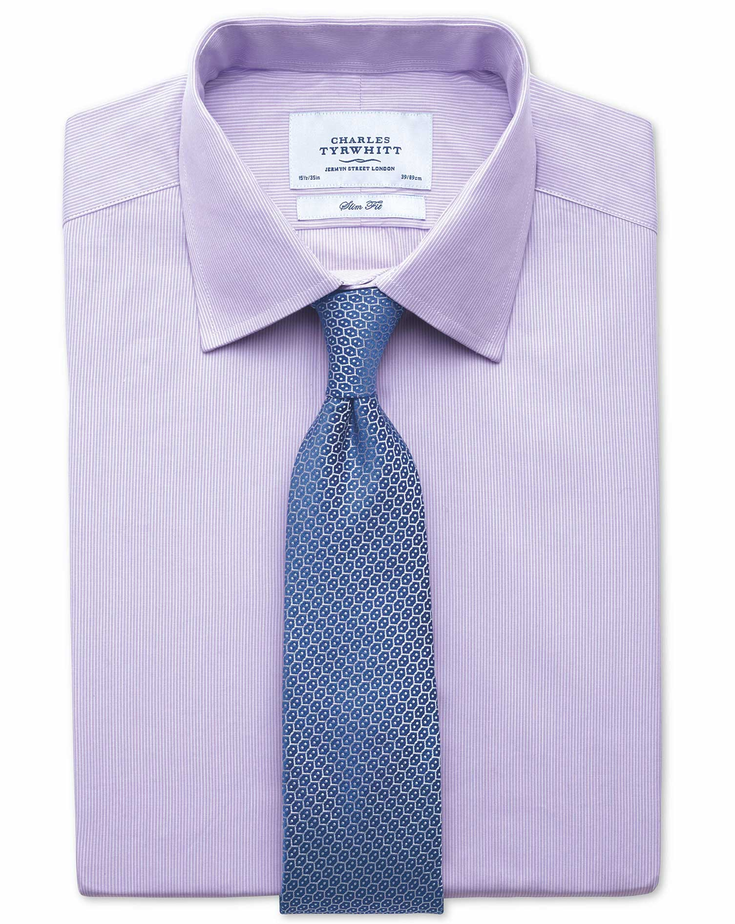 Extra Slim Fit Fine Stripe Lilac Cotton Formal Shirt Double Cuff Size 15/32 by Charles Tyrwhitt