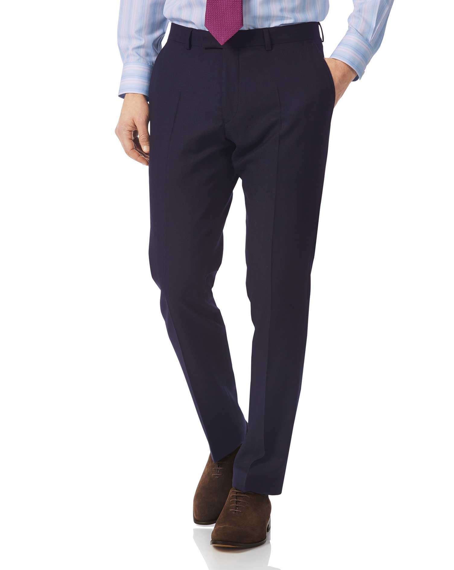 Navy Slim Fit British Luxury Suit Trousers Size W34 L30 by Charles Tyrwhitt