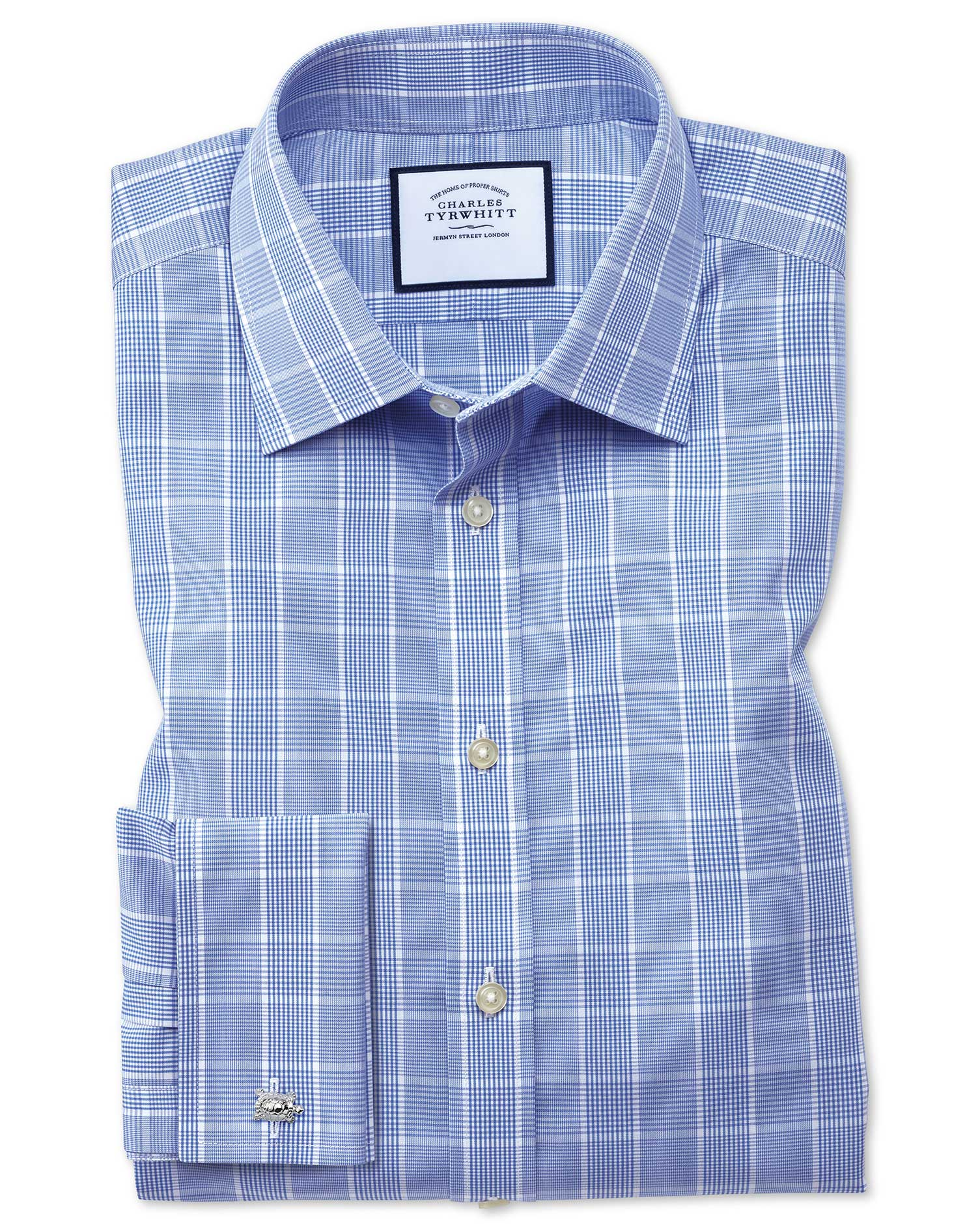Slim Fit Non-Iron Prince Of Wales Mid Blue Cotton Formal Shirt Single Cuff Size 17/36 by Charles Tyr