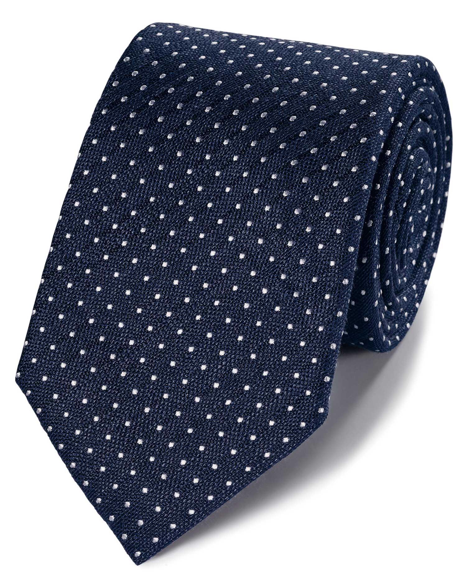 Klassische Krawatte Leinen/Seide mit Punkten in Marineblau