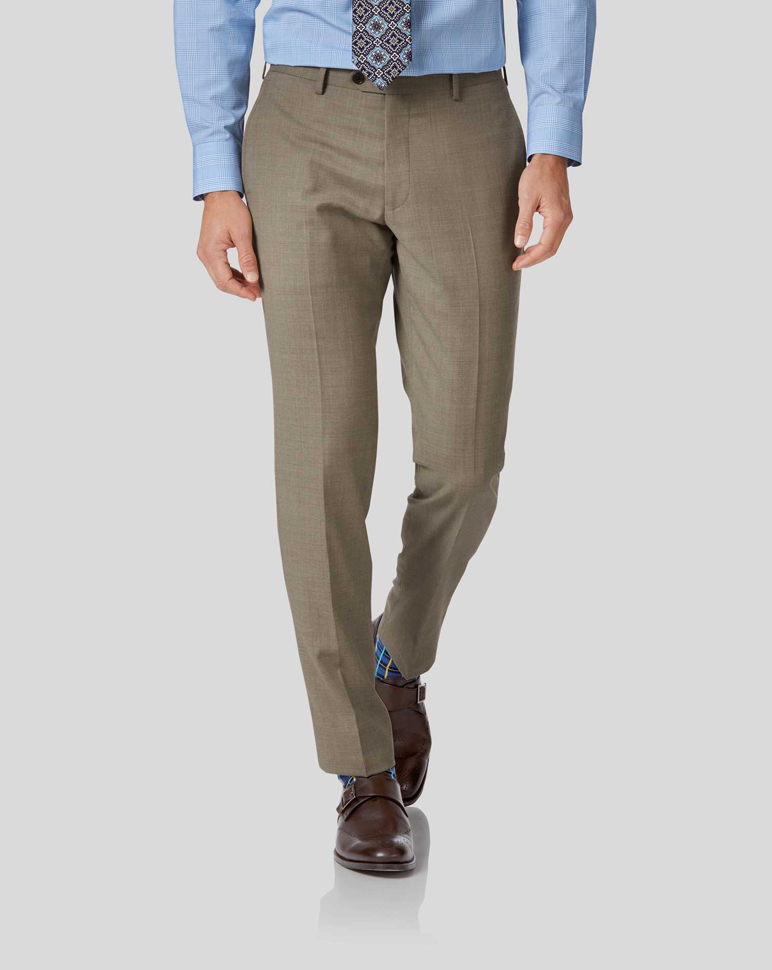 Pantalon de costume business fauve en twill slim fit