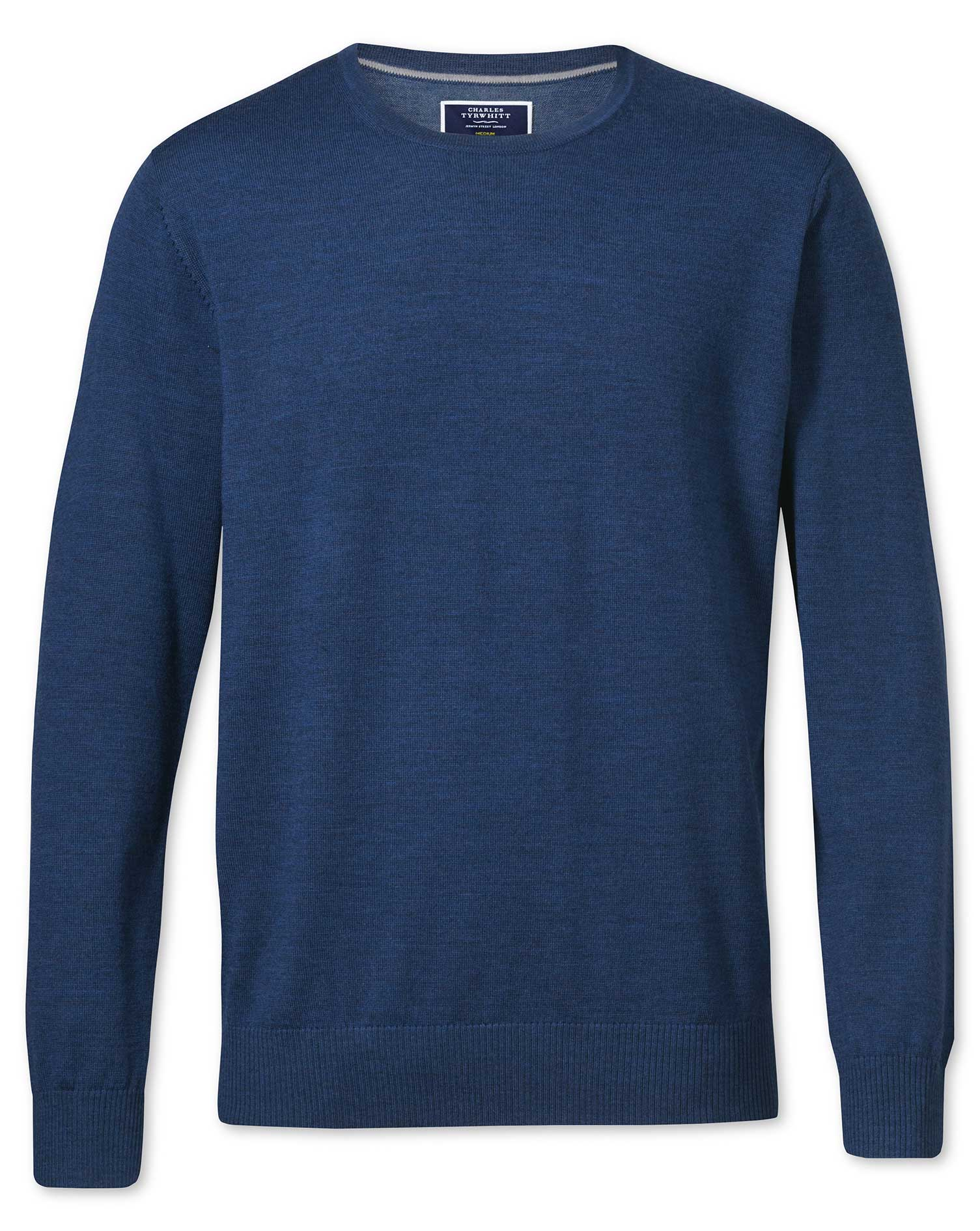 Mid Blue Merino Wool Crew Neck Jumper Size Small by Charles Tyrwhitt