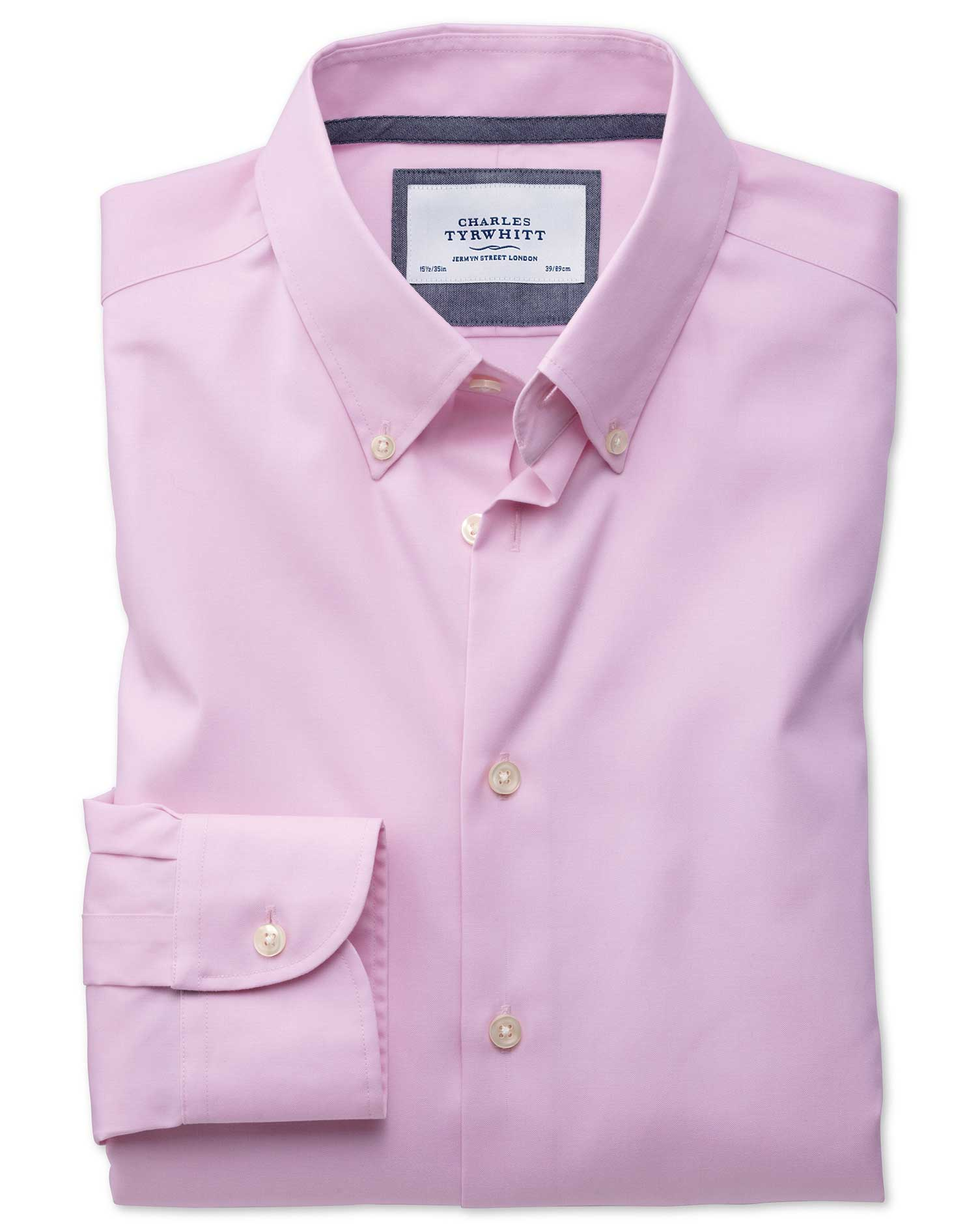 Slim Fit Button-Down Business Casual Non-Iron Light Pink Cotton Formal Shirt Single Cuff Size 17.5/3