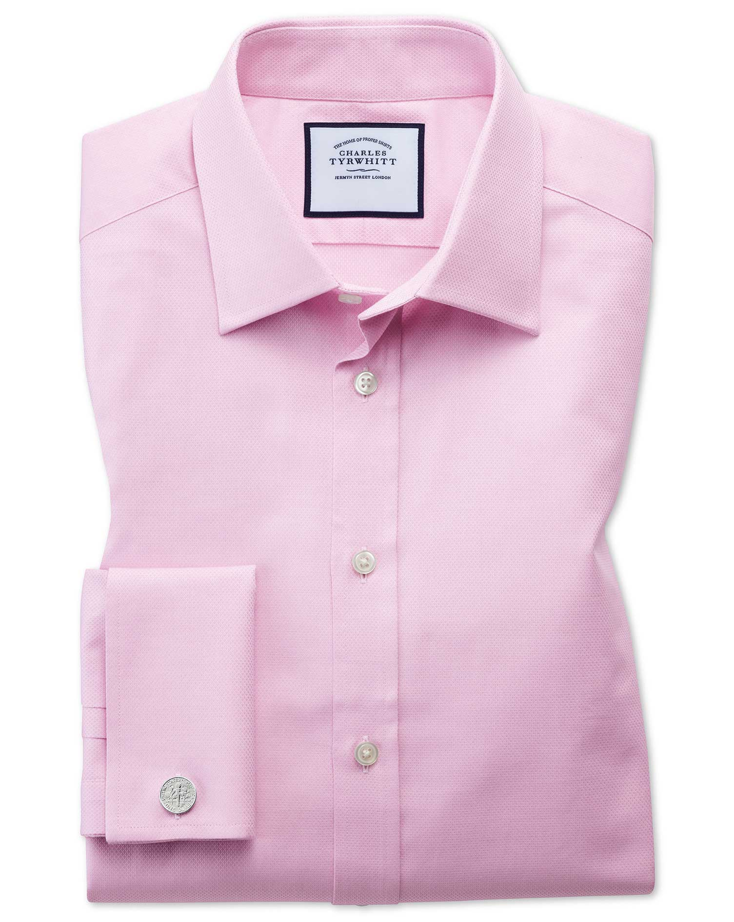 Extra Slim Fit Egyptian Cotton Trellis Weave Pink Formal Shirt Double Cuff Size 16/35 by Charles Tyr