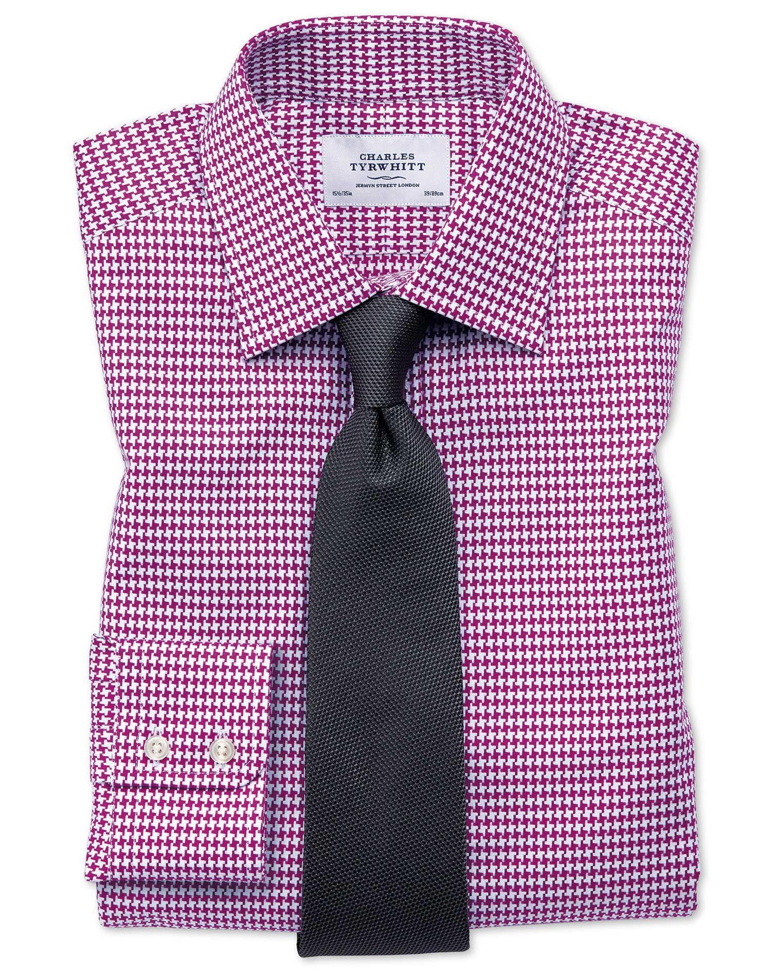 Classic Fit Large Puppytooth Berry Shirt Charles Tyrwhitt