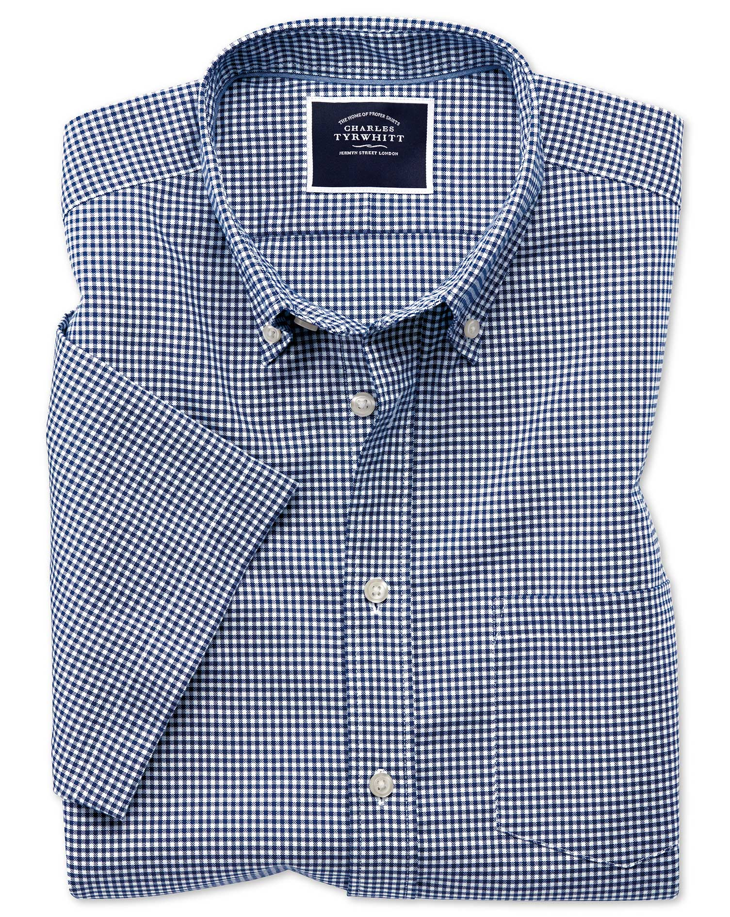 Slim Fit Royal Blue Short Sleeve Gingham Soft Washed Non-Iron Stretch Cotton Shirt Single Cuff Size