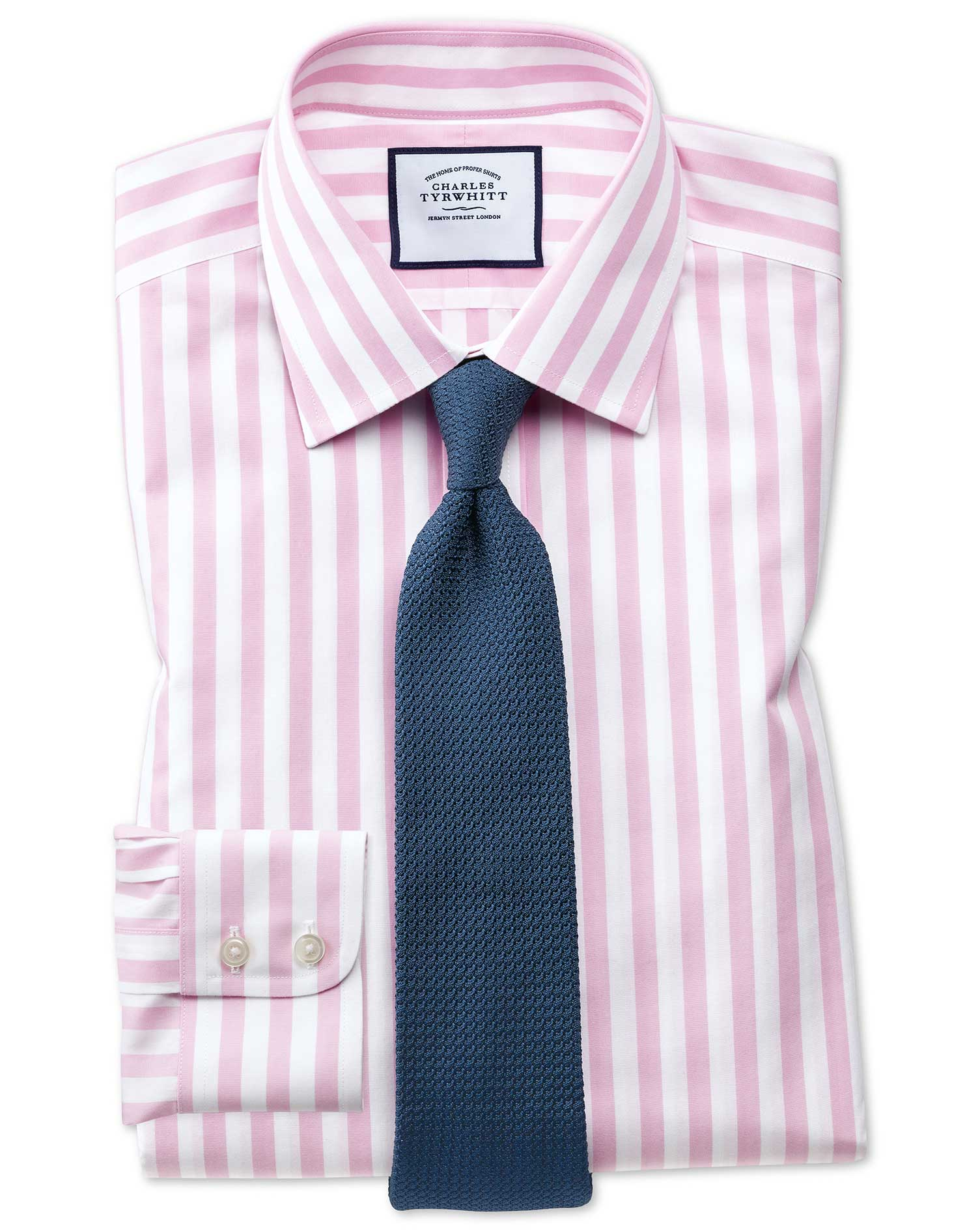 Slim Fit Non-Iron Pink Wide Bengal Stripe Cotton Formal Shirt Single Cuff Size 17.5/34 by Charles Ty
