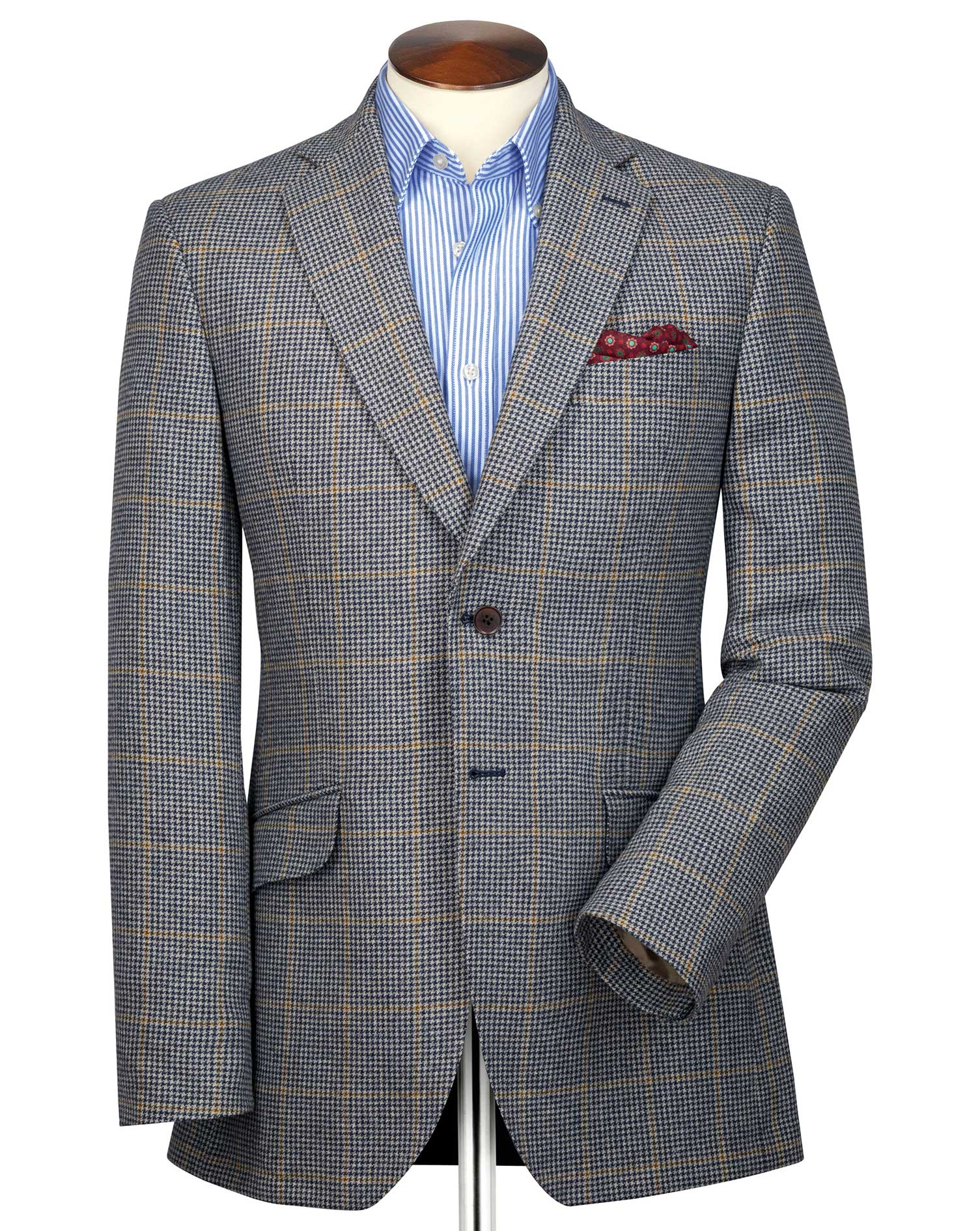 Classic Fit Blue and Beige Checkered British Tweed Jacket Size 48 Regular by Charles Tyrwhitt