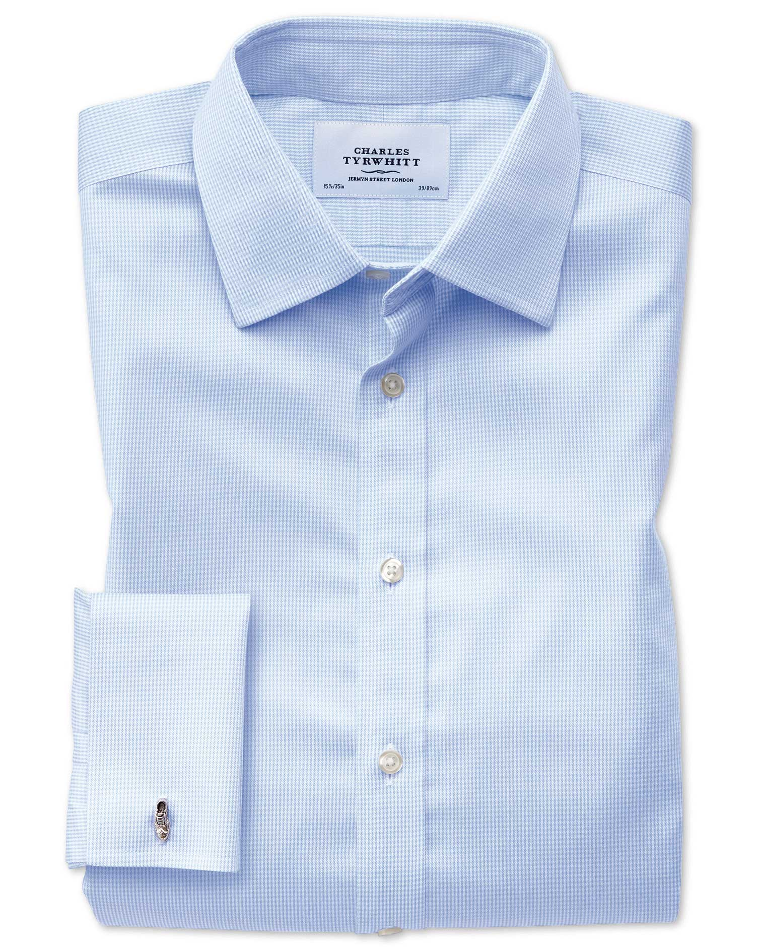 Extra Slim Fit Non-Iron Puppytooth Sky Blue Cotton Formal Shirt Double Cuff Size 15.5/33 by Charles