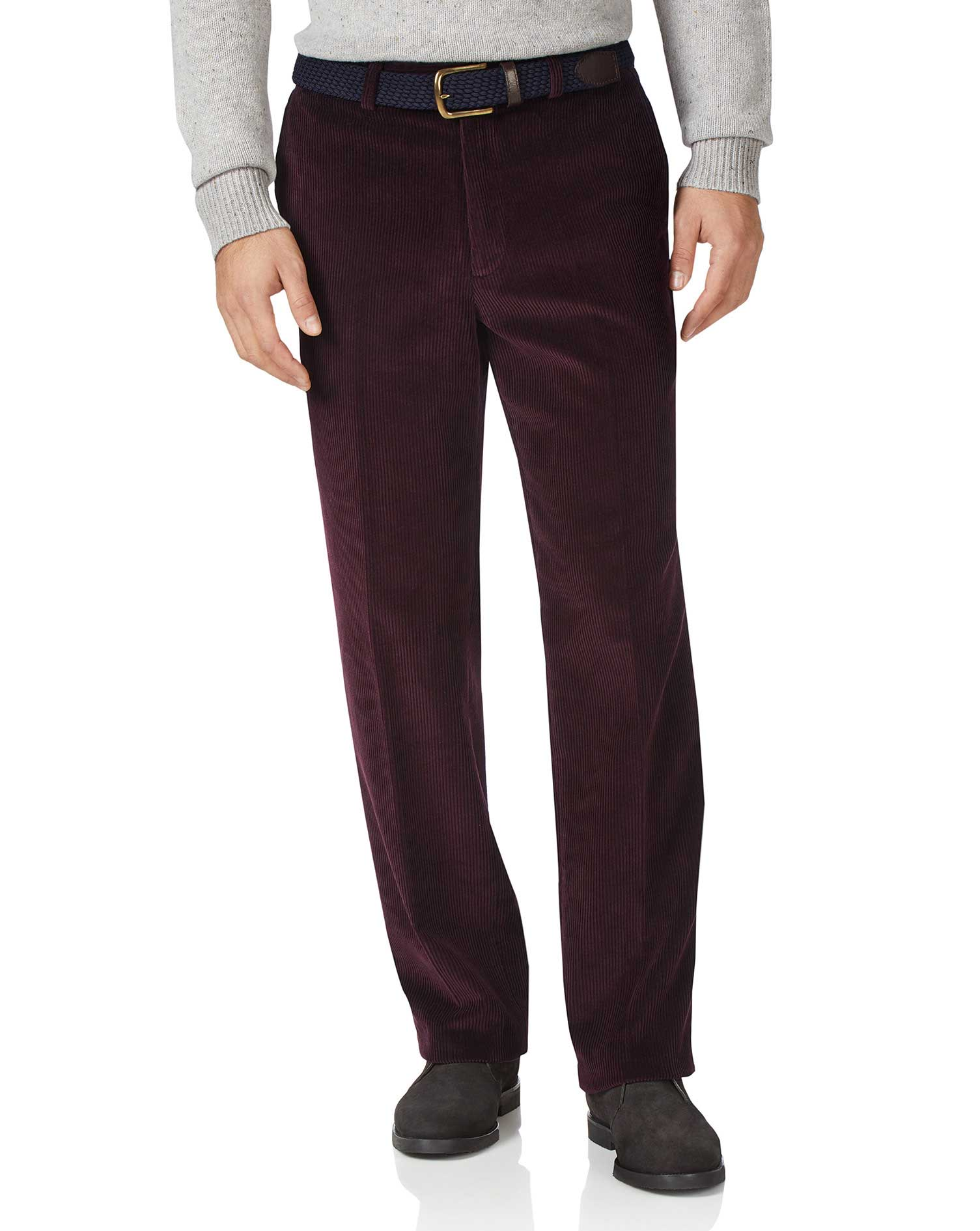 Wine Classic Fit Jumbo Corduroy Trousers Size W34 L34 by Charles Tyrwhitt