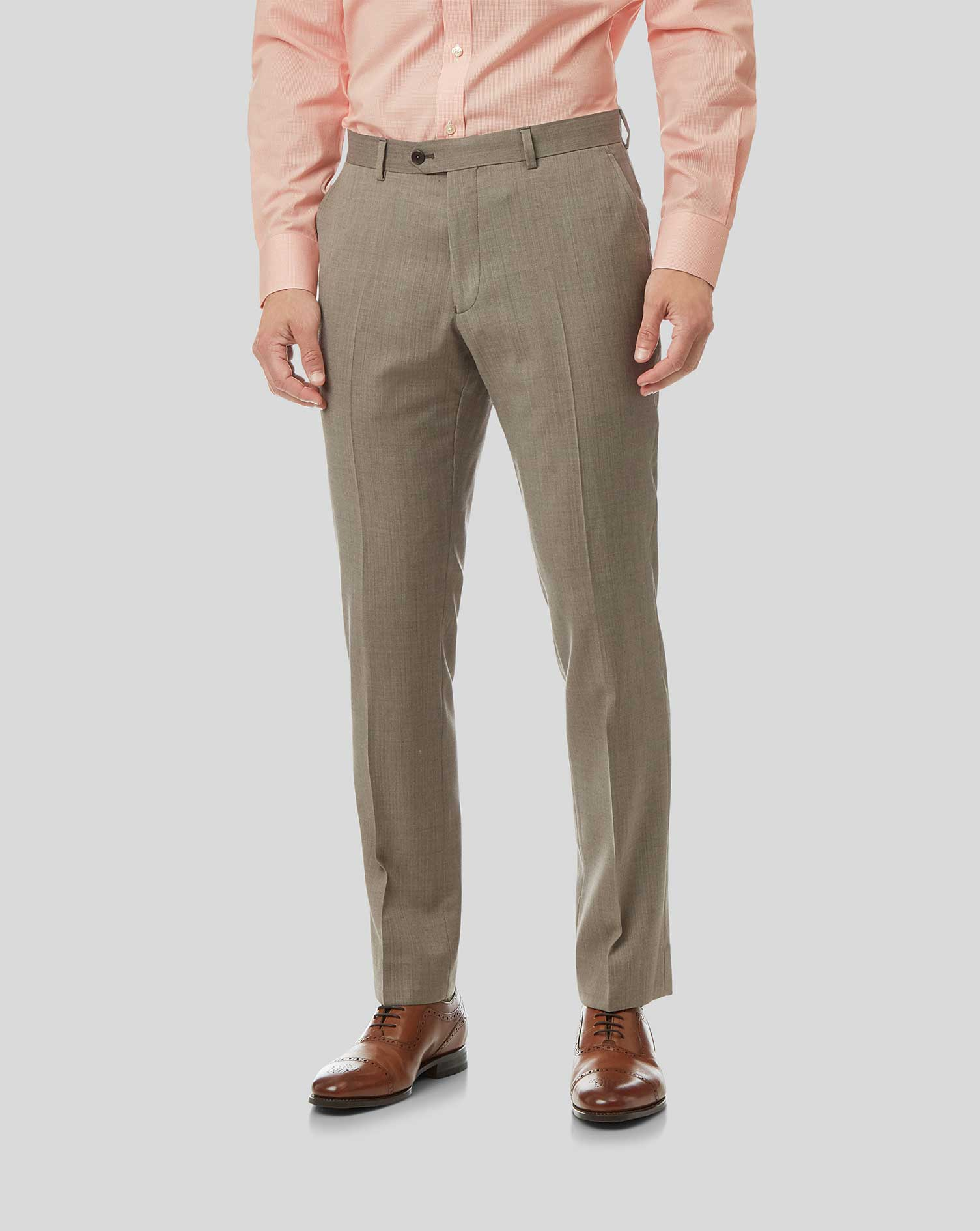 Wool Herringbone Suit Trousers- Fawn