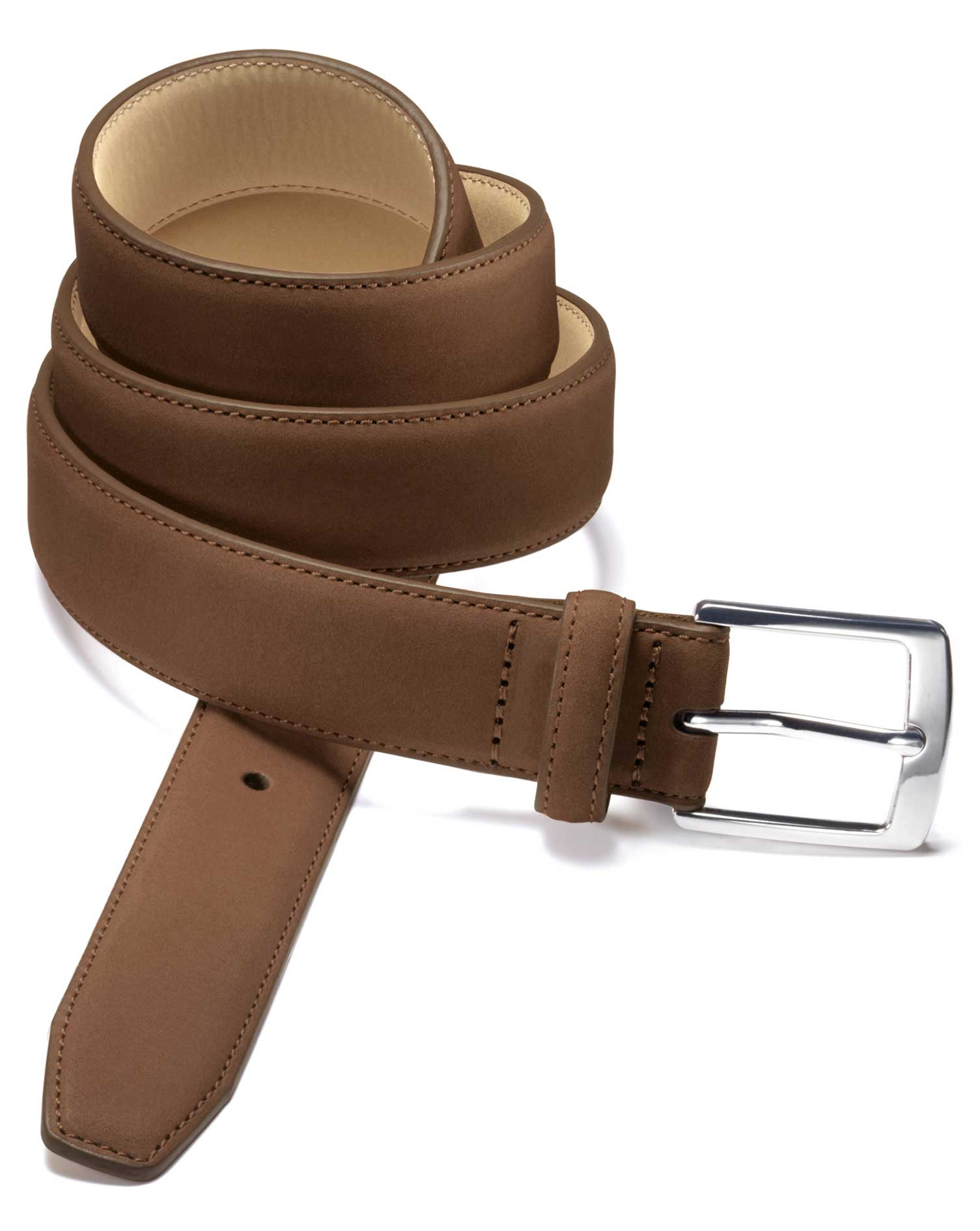 Tan Nubuck Leather Belt Size 34 by Charles Tyrwhitt