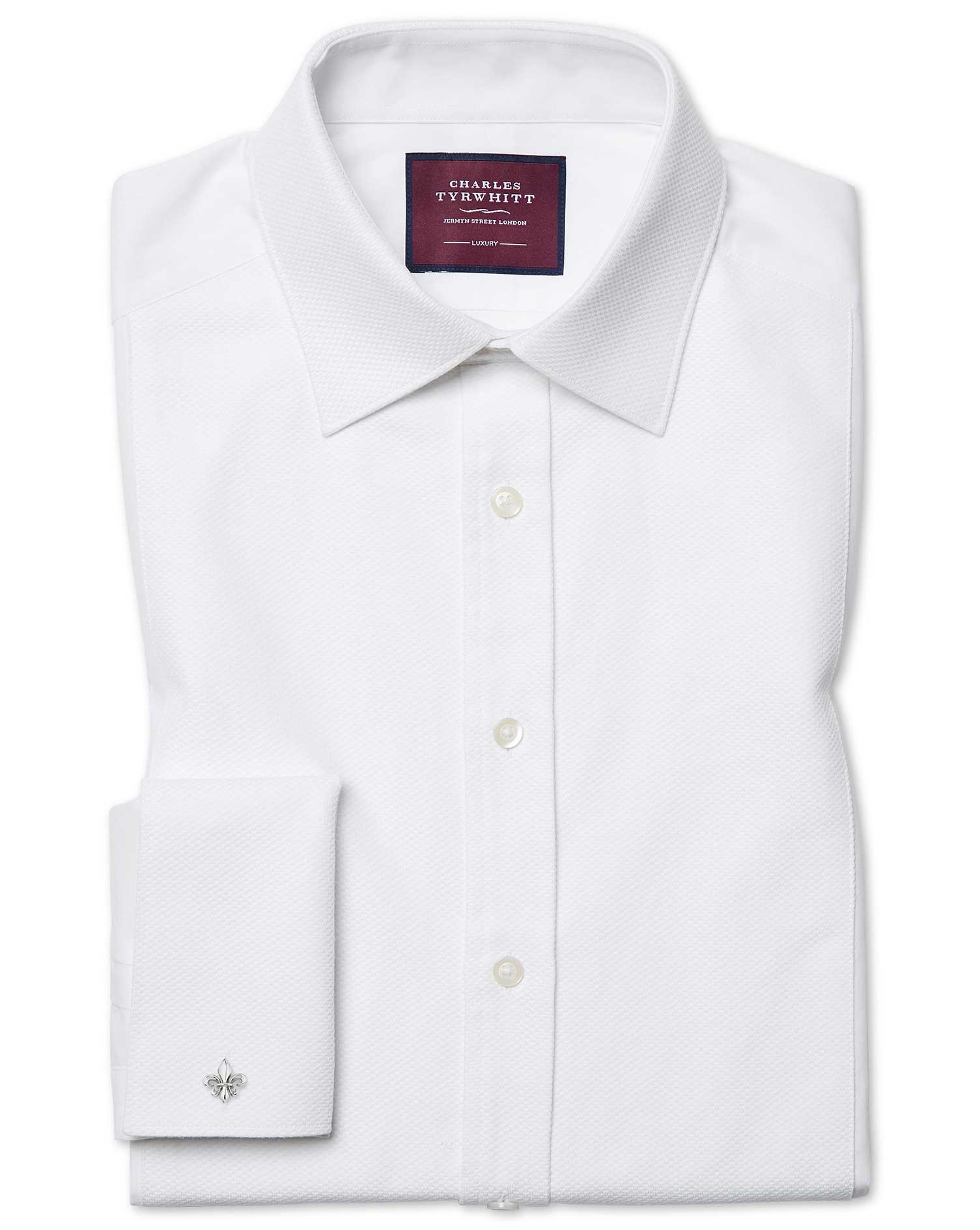 Extra Slim Fit Luxury Marcella Bib Front White Evening Egyptian Cotton Formal Shirt Double Cuff Size