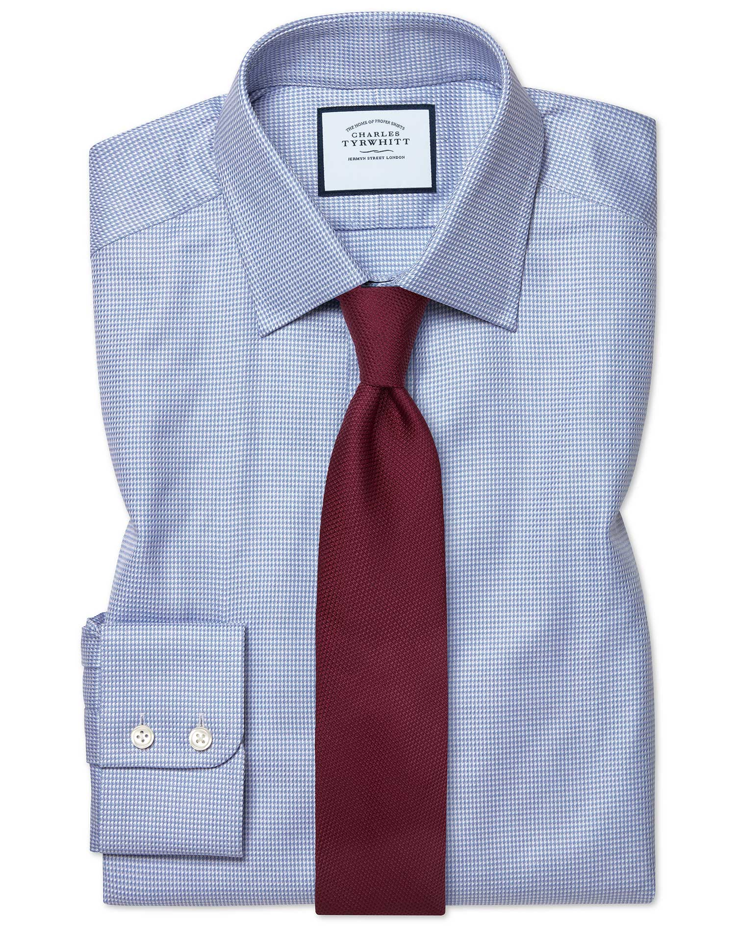 Slim Fit Egyptian Cotton Chevron Sky Blue Shirt