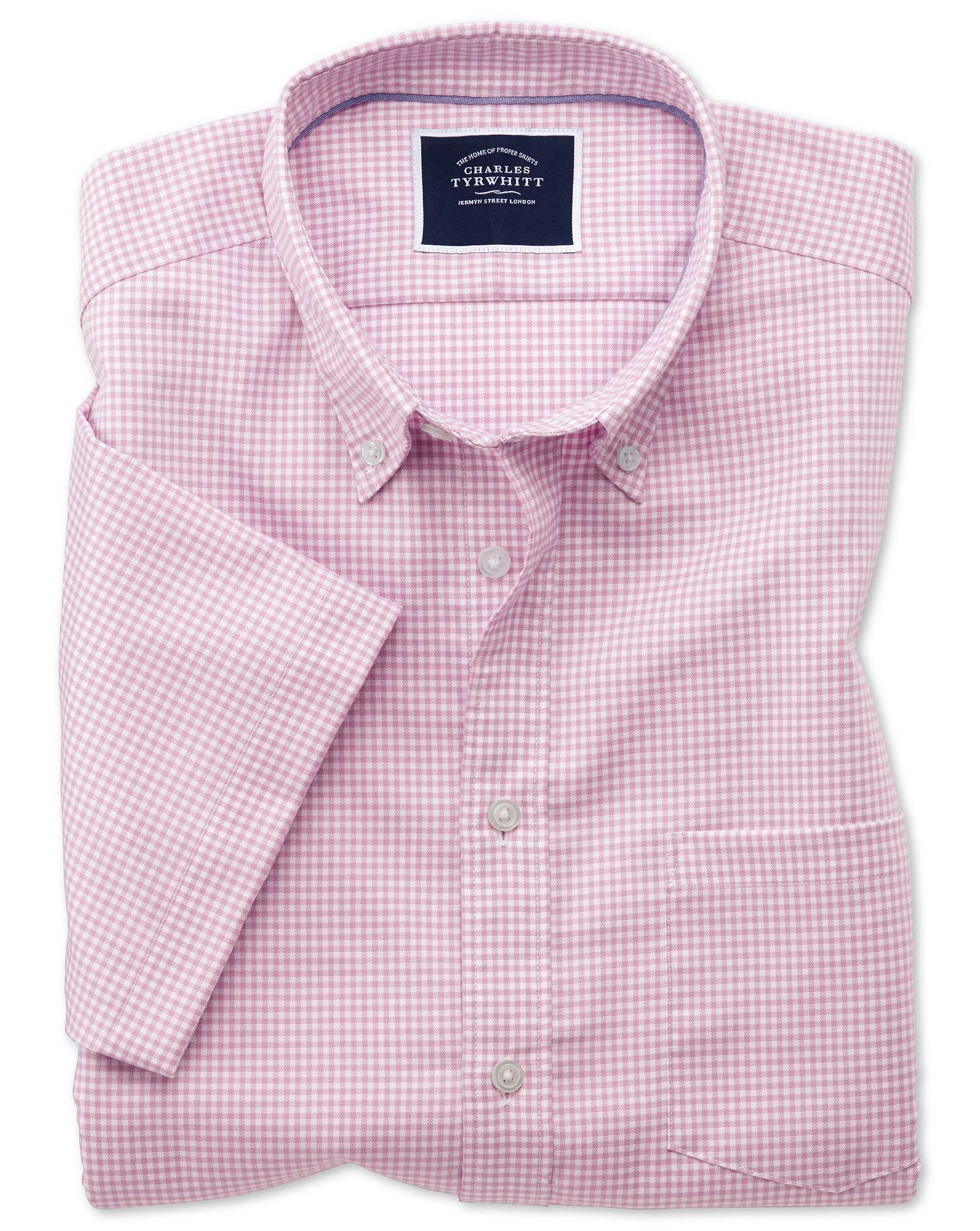 Slim Fit Pink Short Sleeve Gingham Soft Washed Non-Iron Stretch Cotton Shirt Single Cuff Size Medium
