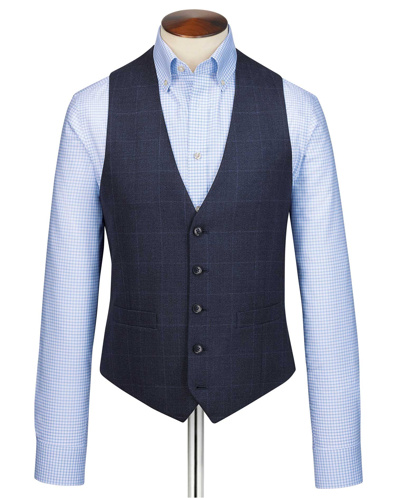 Blue adjustable fit jaspe business suit waistcoat
