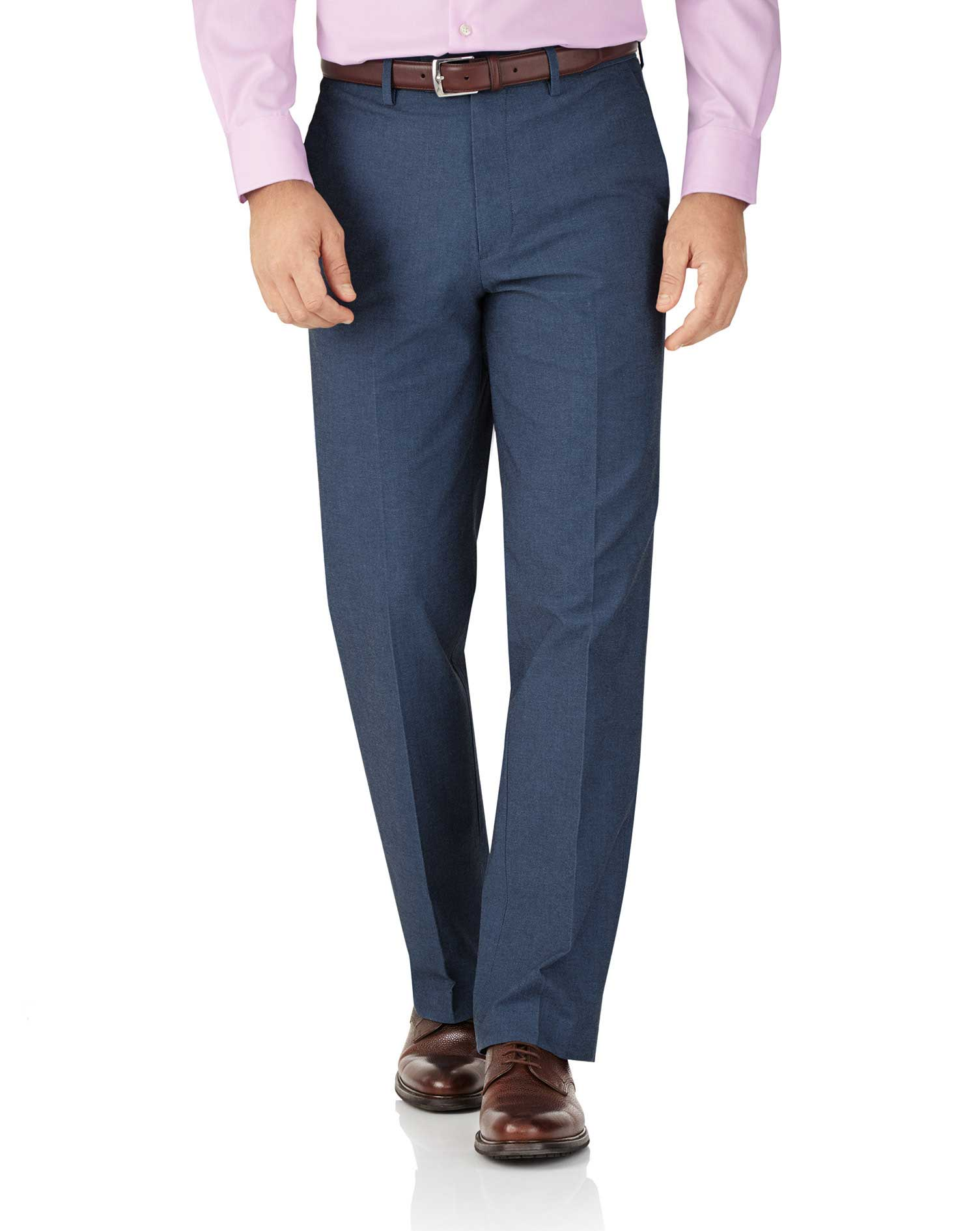 Indigo Classic Fit Stretch Cavalry Twill Trousers Size W36 L30 by Charles Tyrwhitt