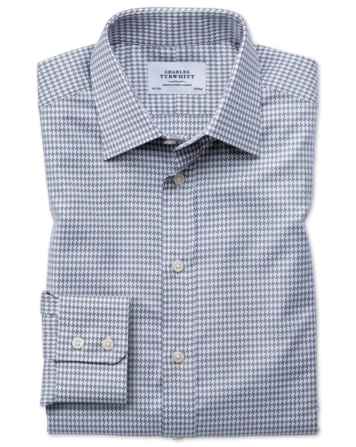 Slim Fit Large Puppytooth Light Grey Cotton Formal Shirt Single Cuff Size 15.5/33 by Charles Tyrwhit