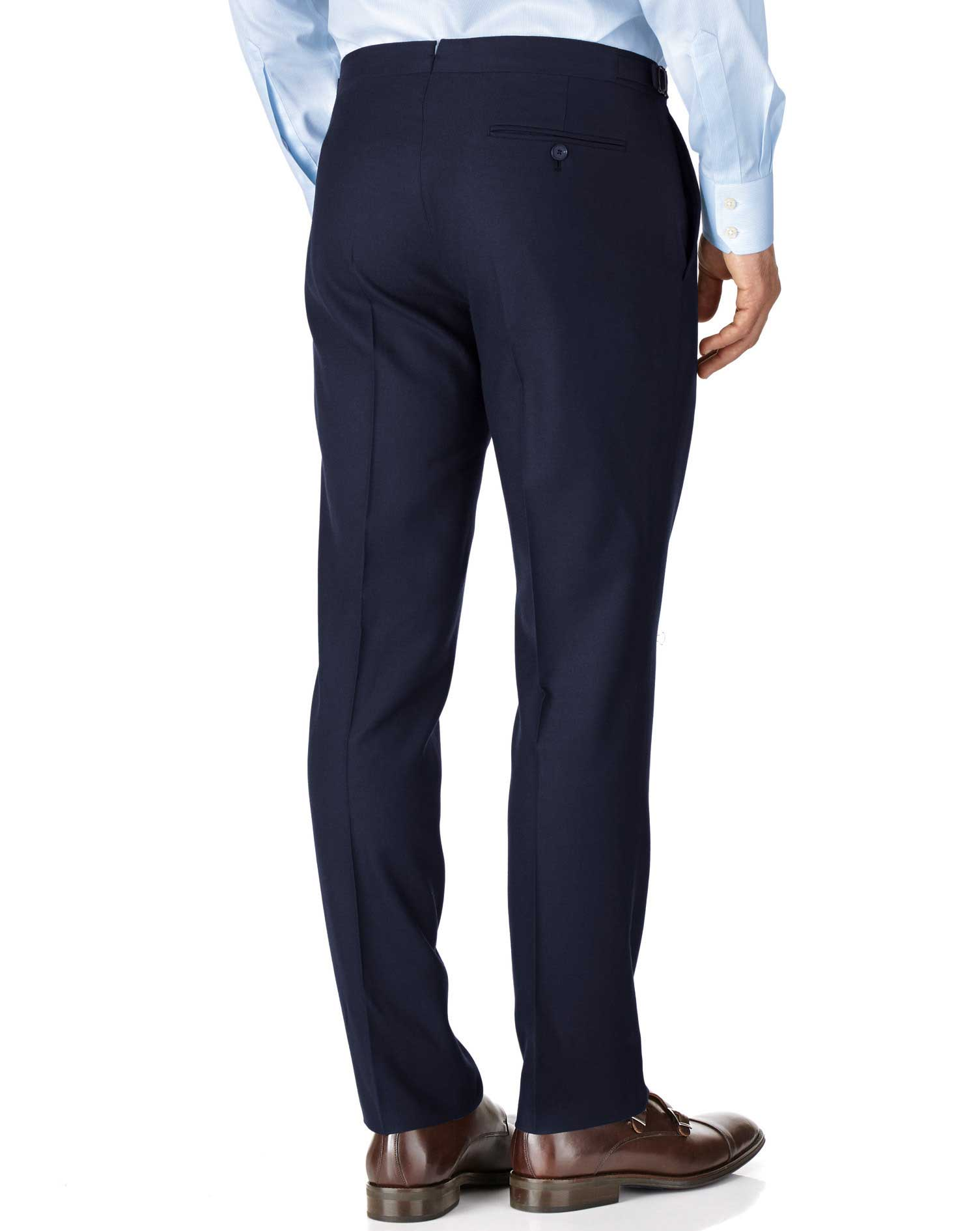 Navy slim fit British serge luxury suit trousers