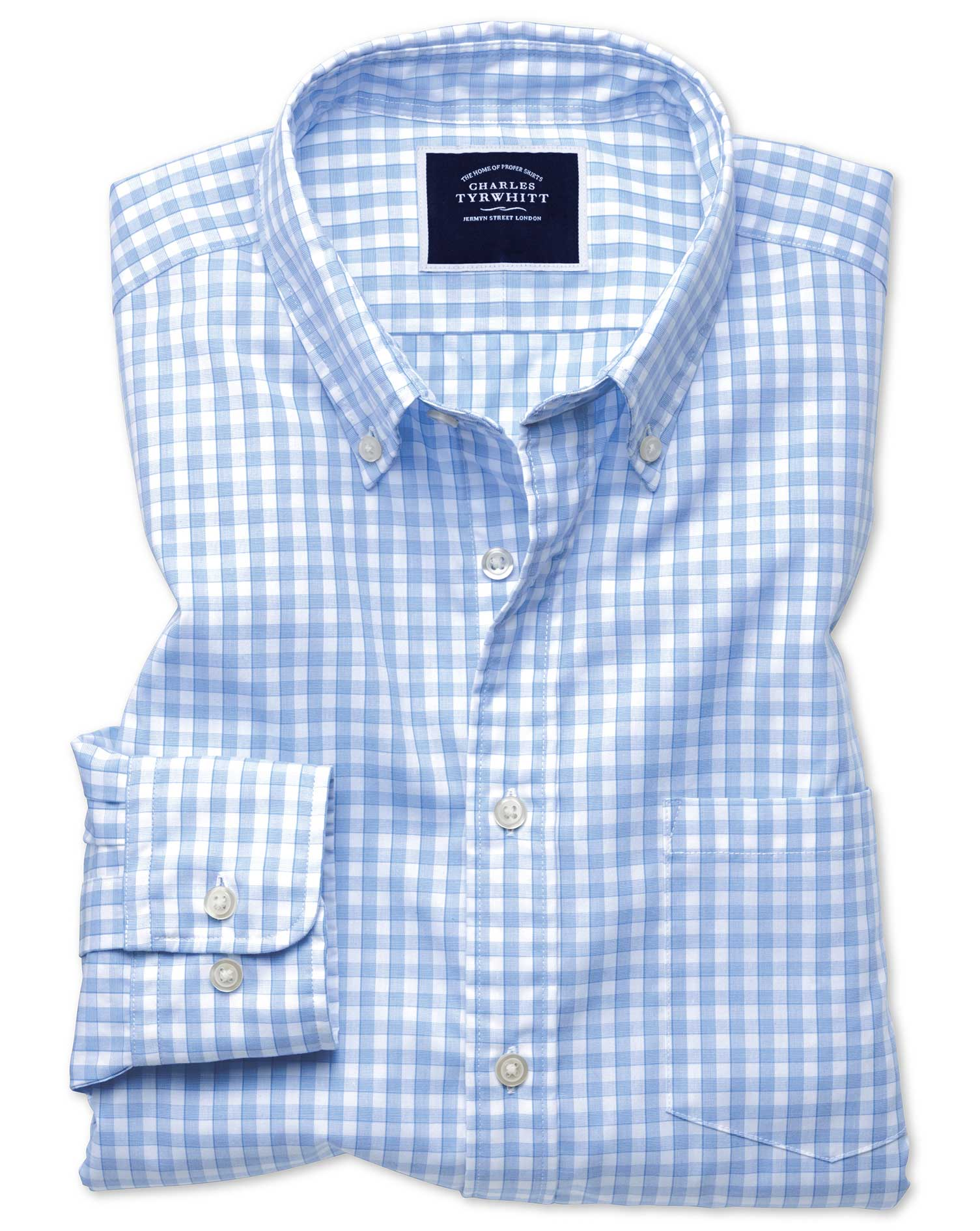 Slim Fit Sky Blue Gingham Soft Washed Non-Iron Tyrwhitt Cool Cotton Shirt Single Cuff Size Small by