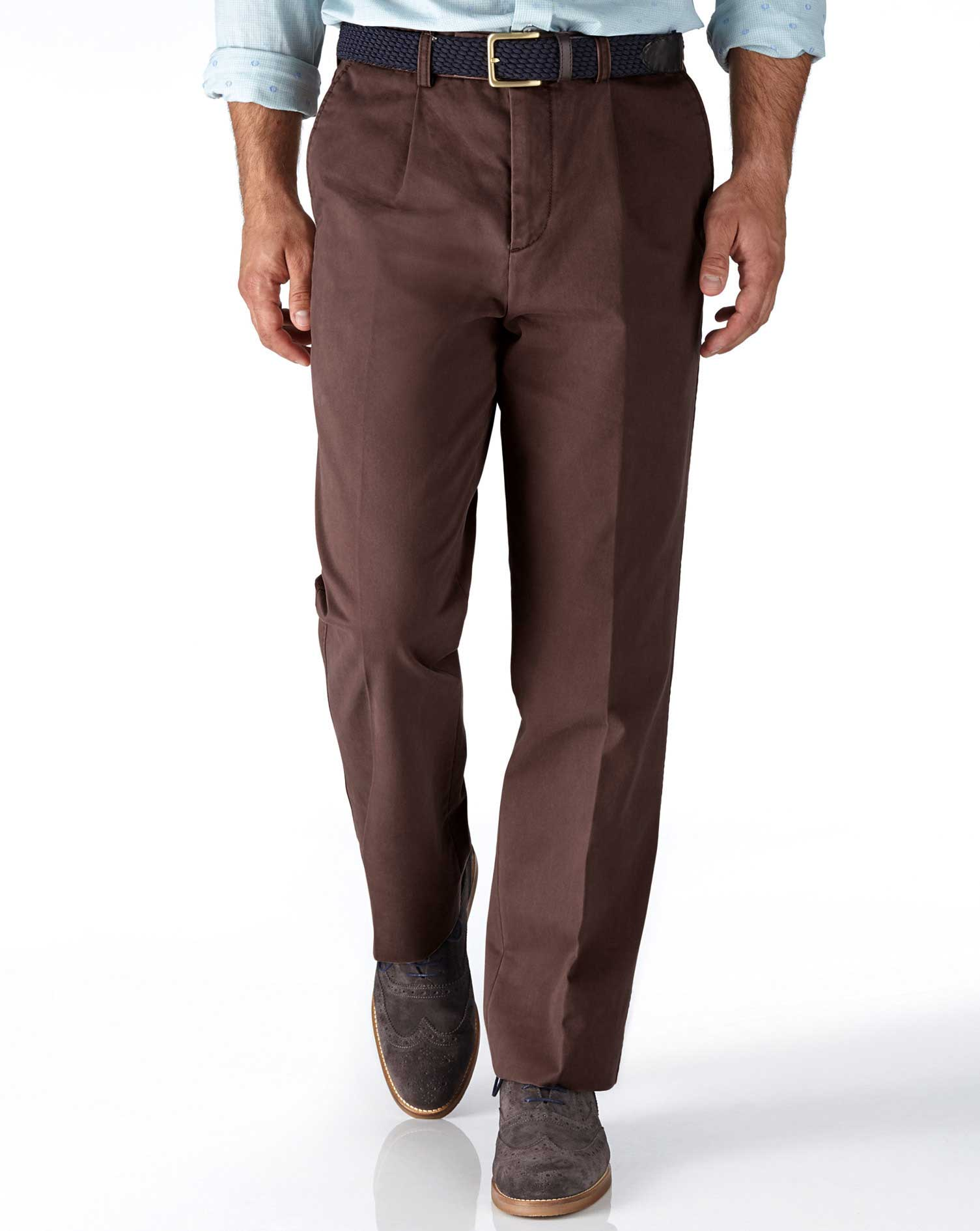 Brown Classic Fit Single Pleat Cotton Chino Trousers Size W42 L29 by Charles Tyrwhitt