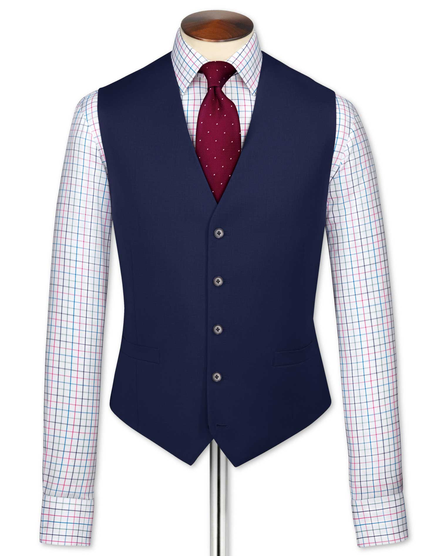Gilet de costume business bleu roi en twill coupe ajustable