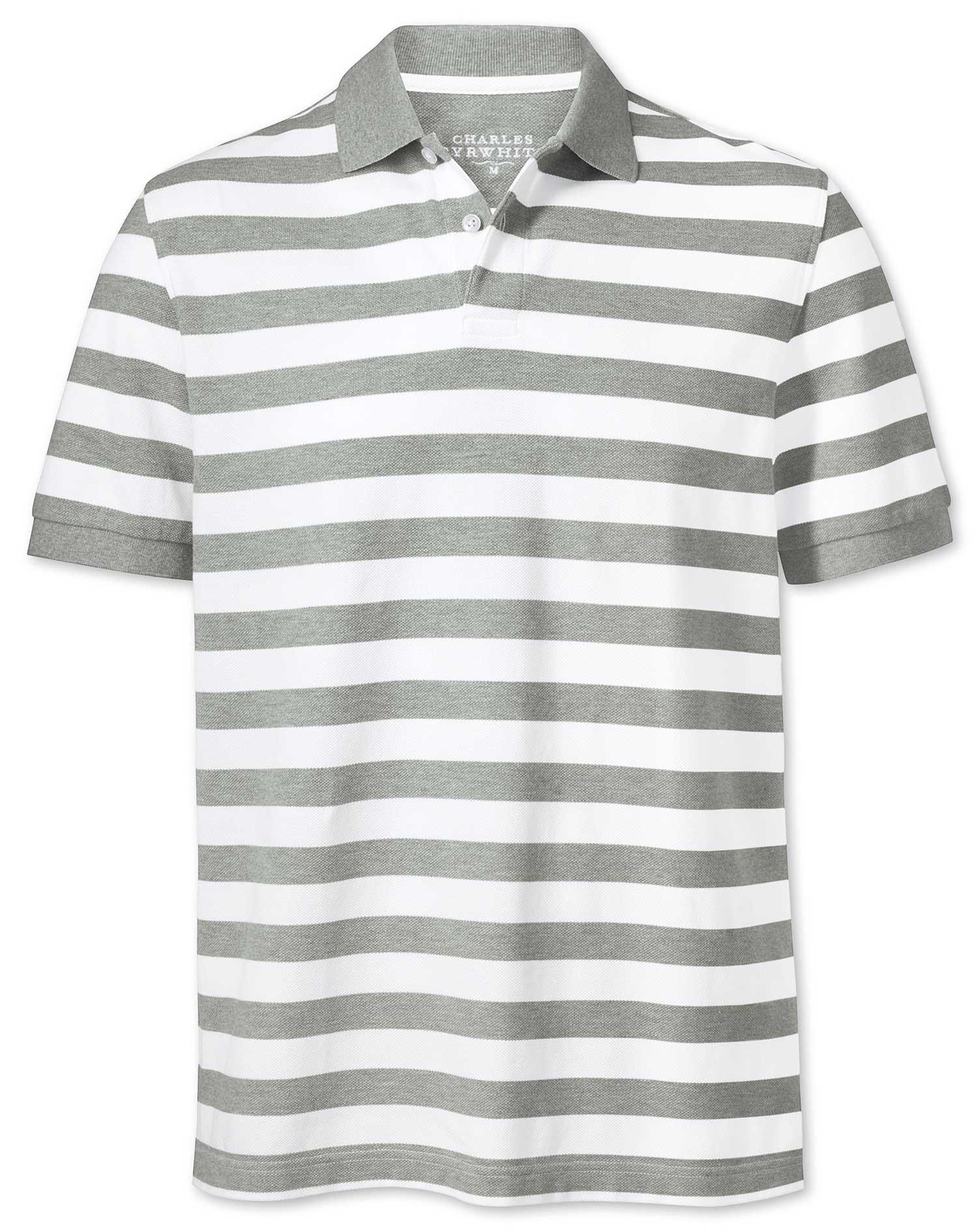 Grey and White Stripe Pique Cotton Polo Size XS by Charles Tyrwhitt