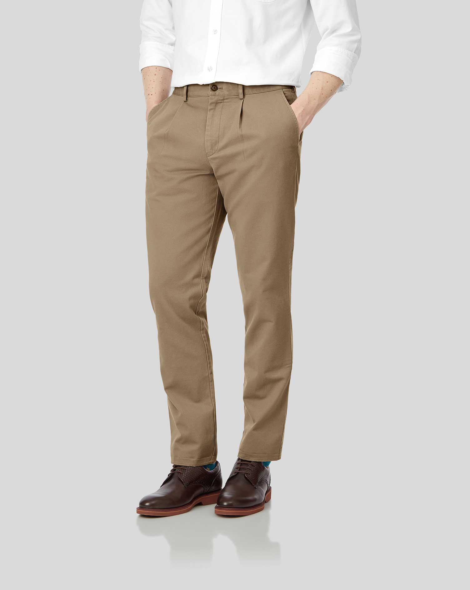 Tan Single Pleat Soft Washed Cotton Chino Trousers Size W38 L32 by Charles Tyrwhitt