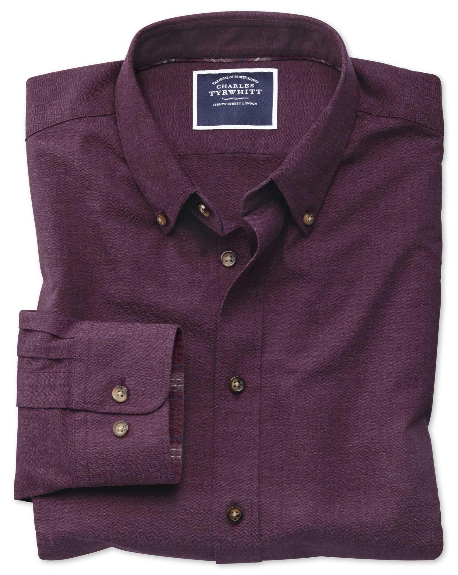 Classic Fit Berry Herringbone Melange Cotton Shirt Single Cuff Size Medium by Charles Tyrwhitt