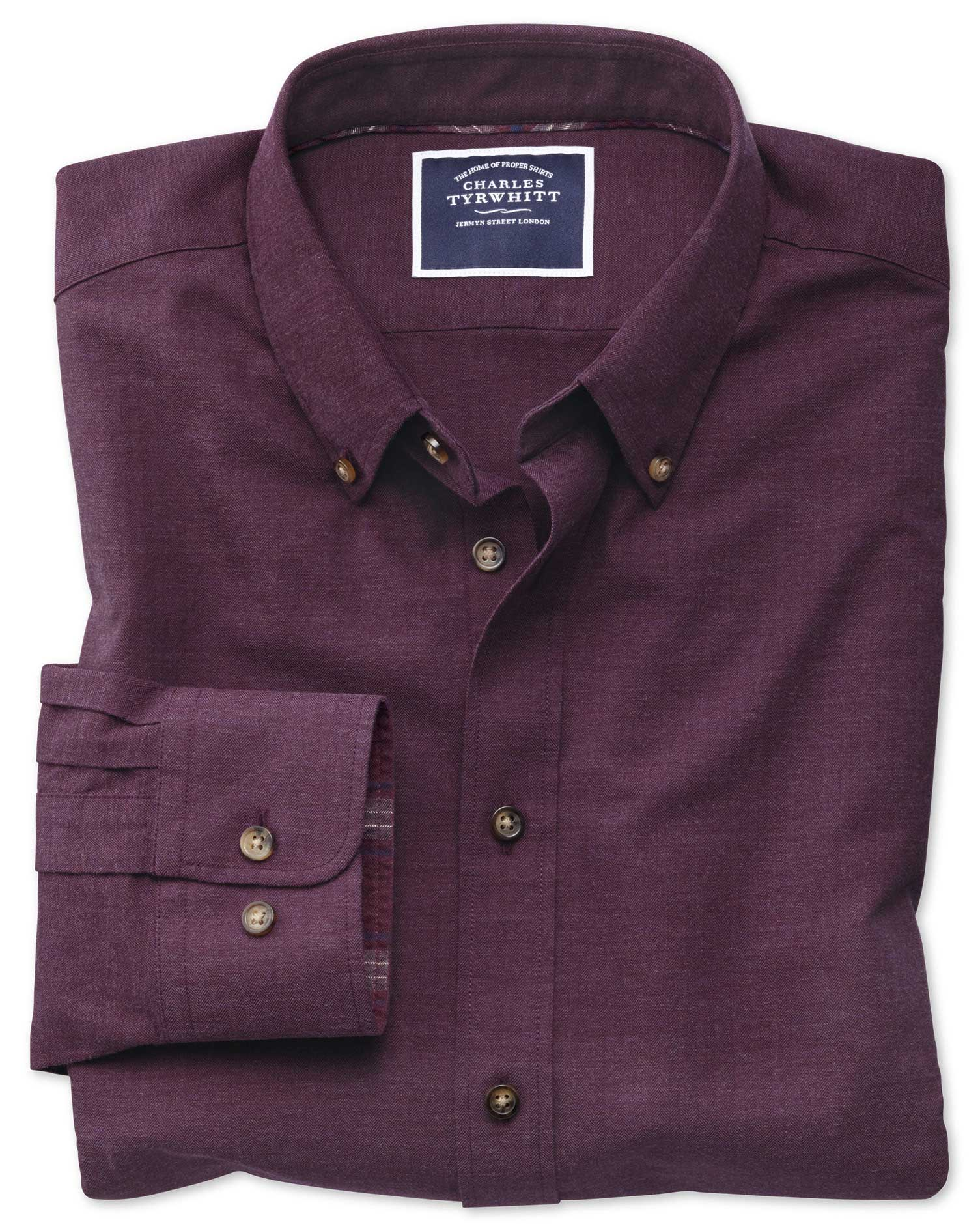 Extra Slim Fit Berry Herringbone Melange Cotton Shirt Single Cuff Size XXL by Charles Tyrwhitt