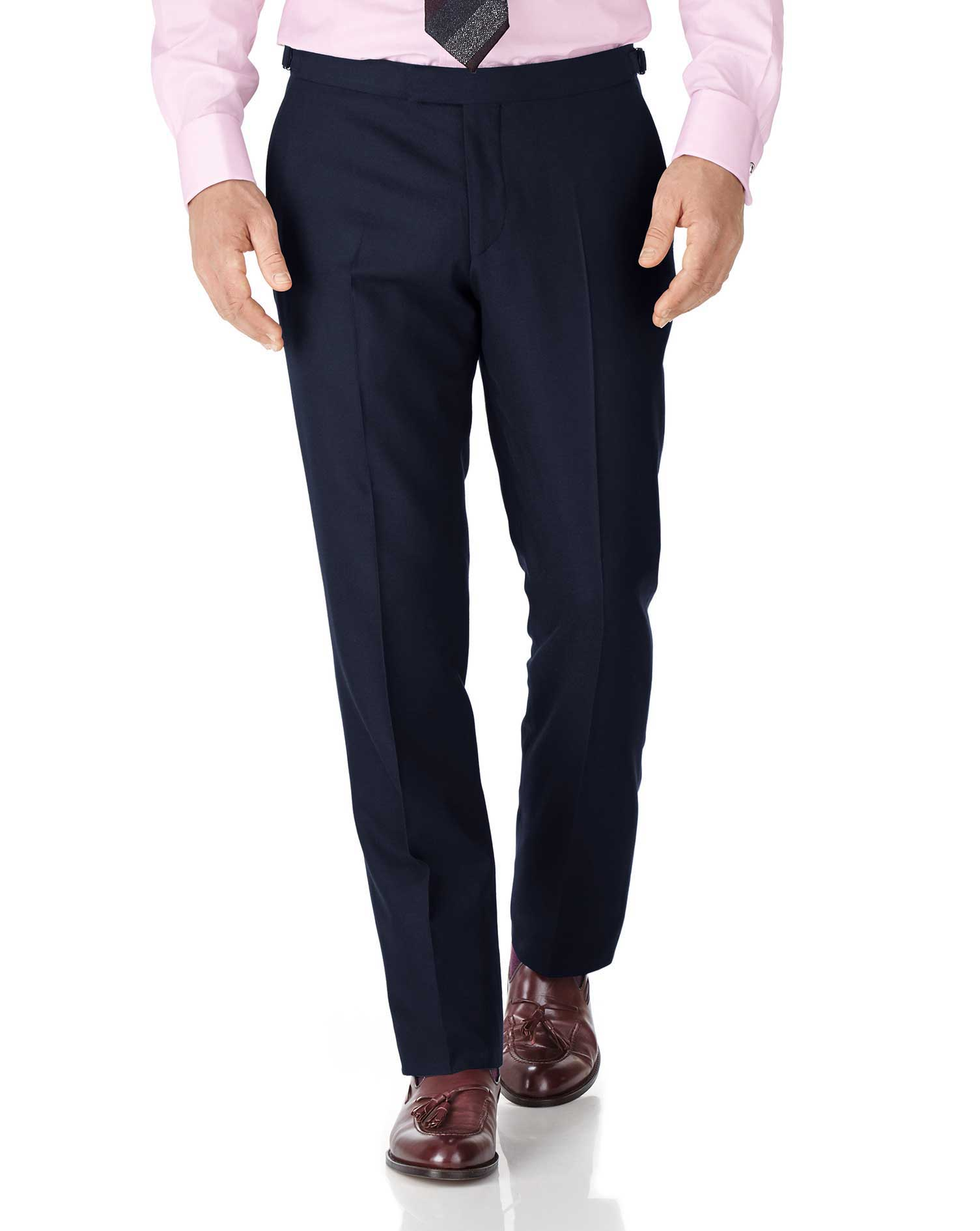 Navy Classic Fit British Serge Luxury Suit Trousers Size W34 L32 by Charles Tyrwhitt