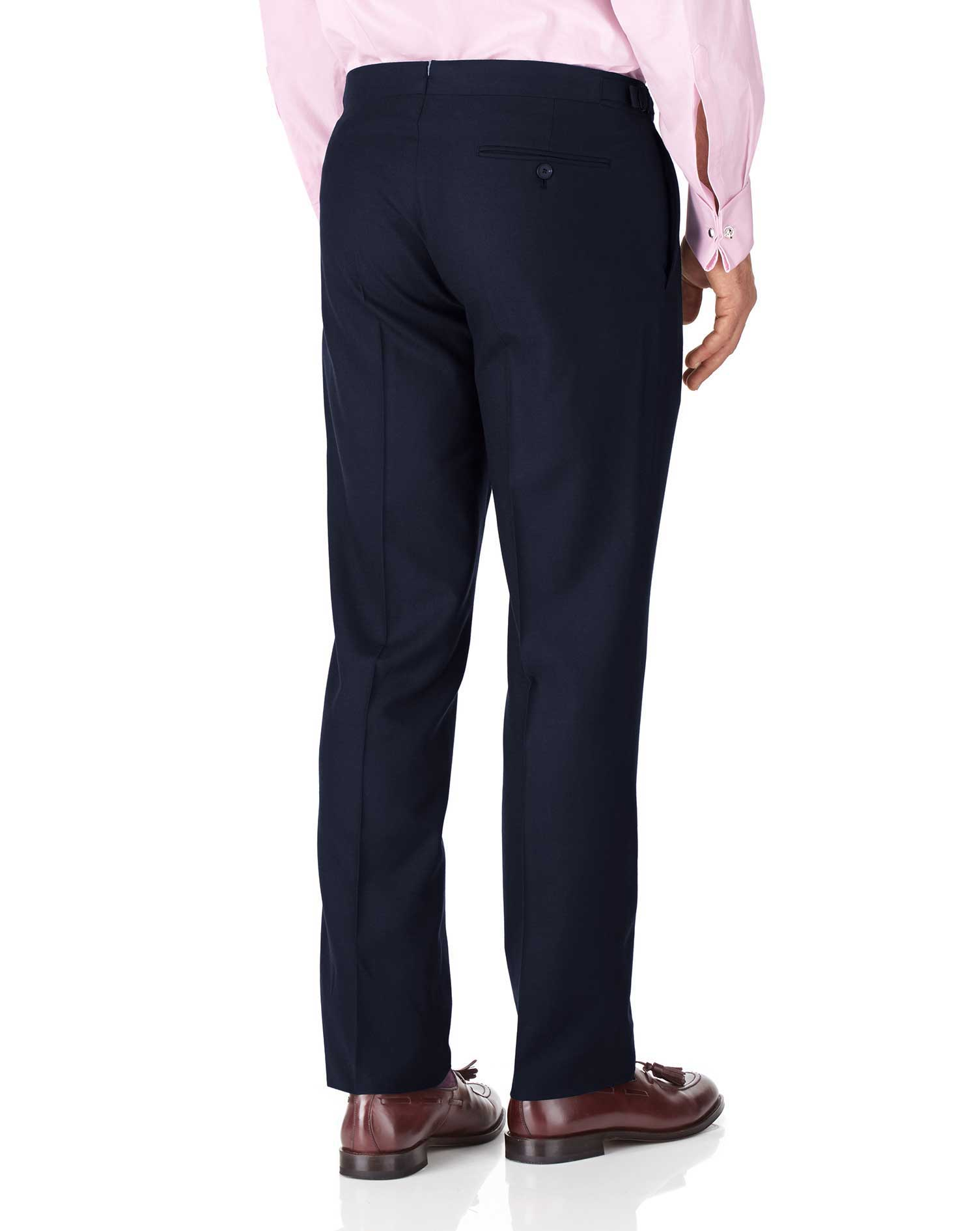 Navy classic fit British serge luxury suit pants