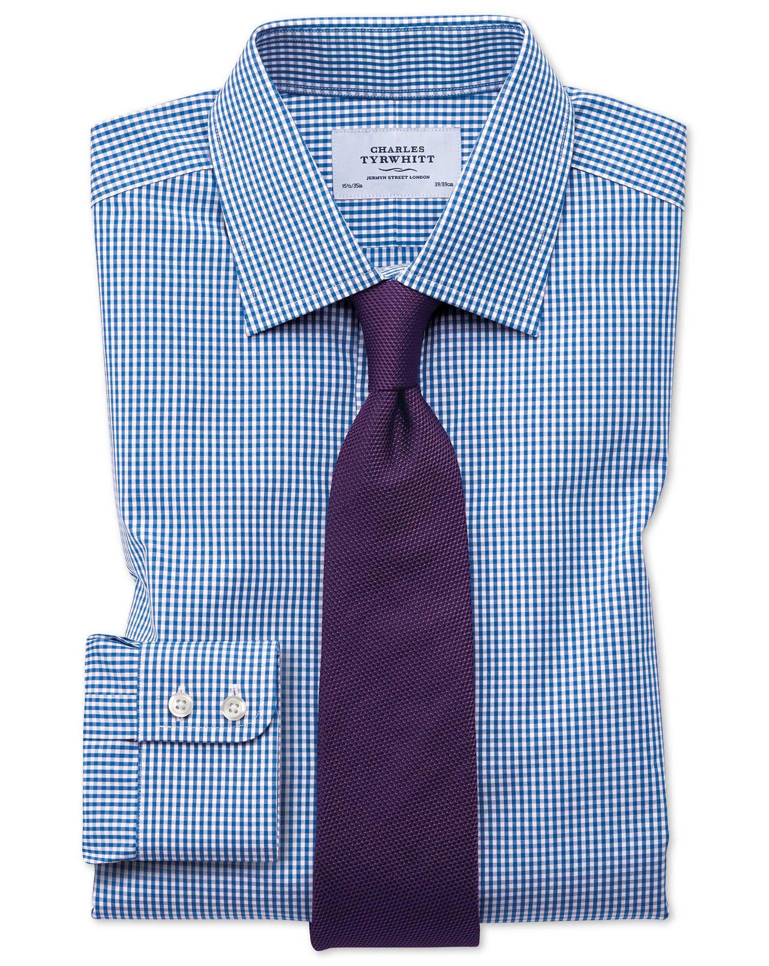 classic fit small gingham check navy shirt charles tyrwhitt
