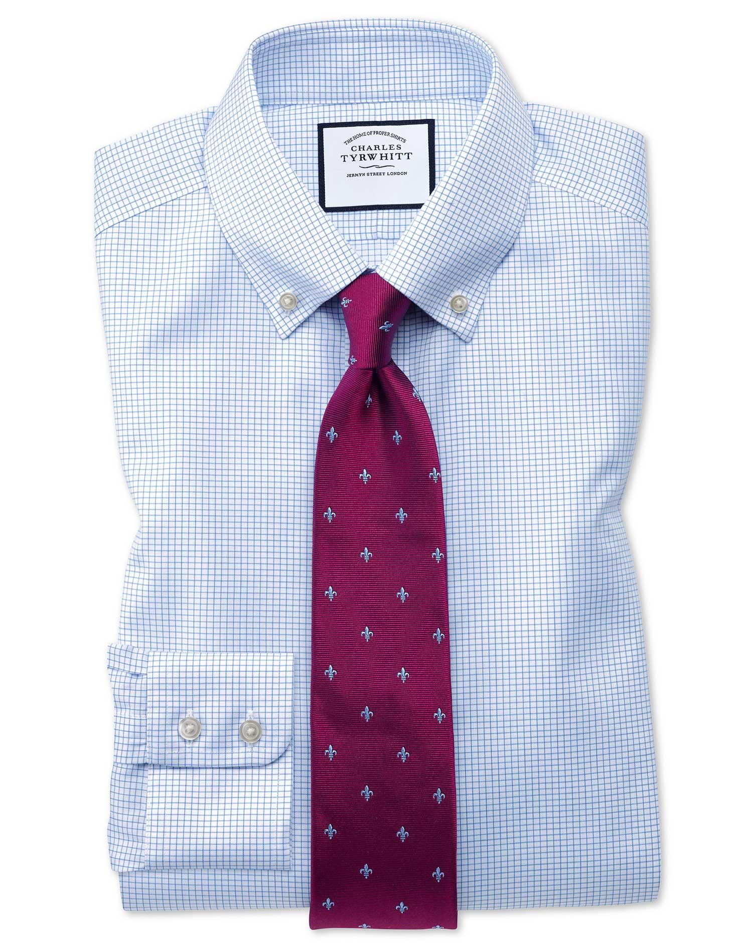 Slim Fit Button Down Non-Iron Twill Mini Grid Check Sky Blue Cotton Formal Shirt Single Cuff Size 16