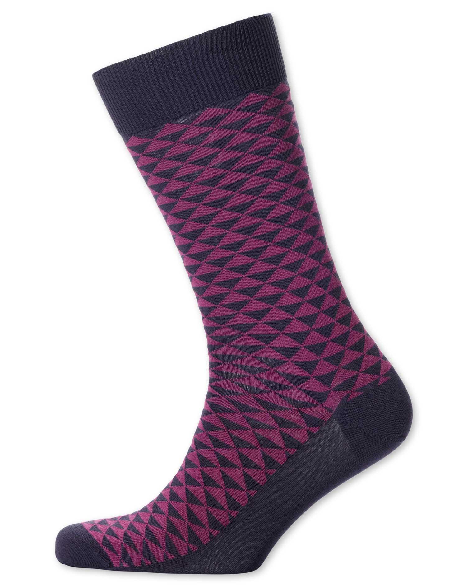 Berry Triangle Socks Size Medium by Charles Tyrwhitt