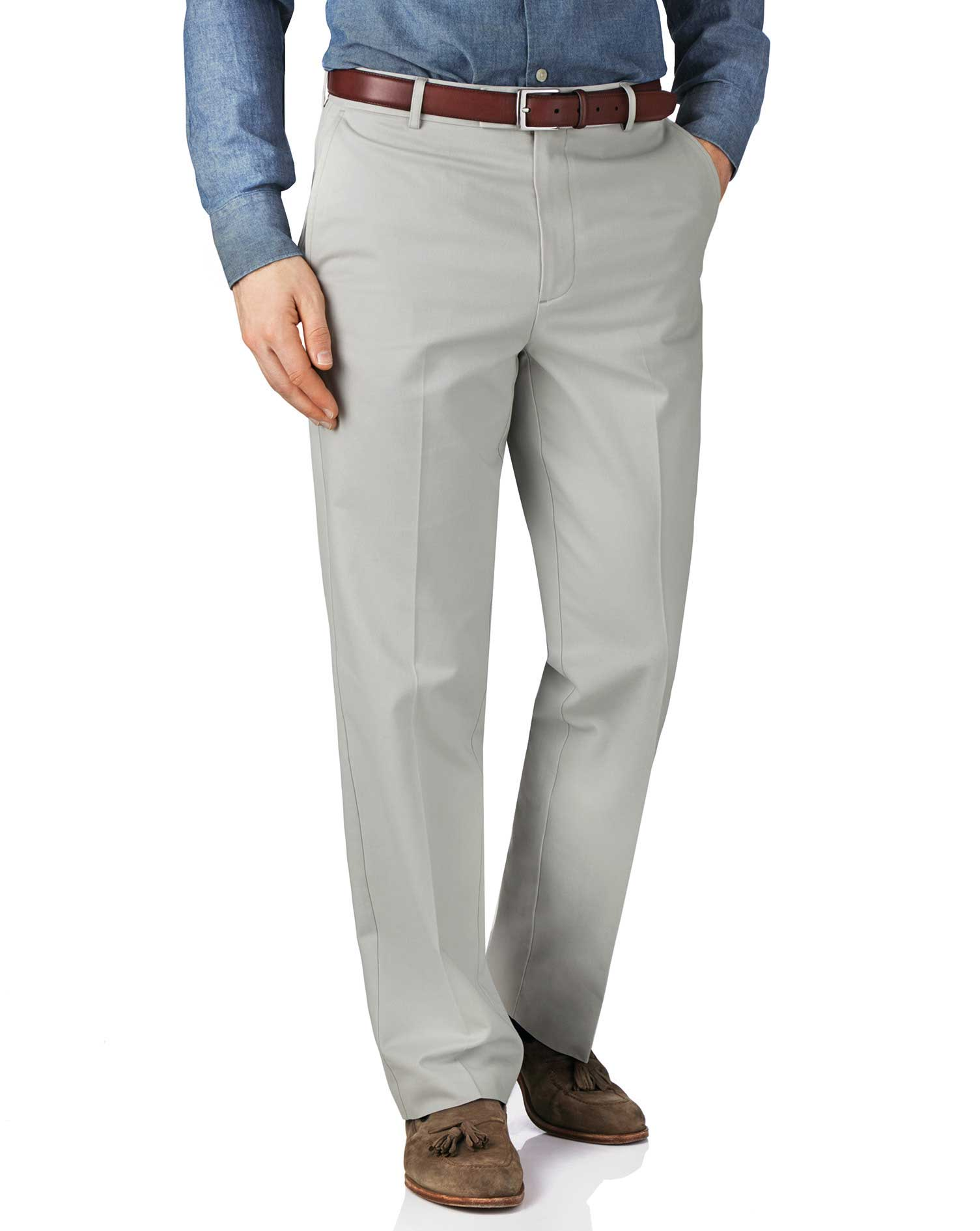 Silver Grey Classic Fit Flat Front Non-Iron Cotton Chino Trousers Size W38 L30 by Charles Tyrwhitt