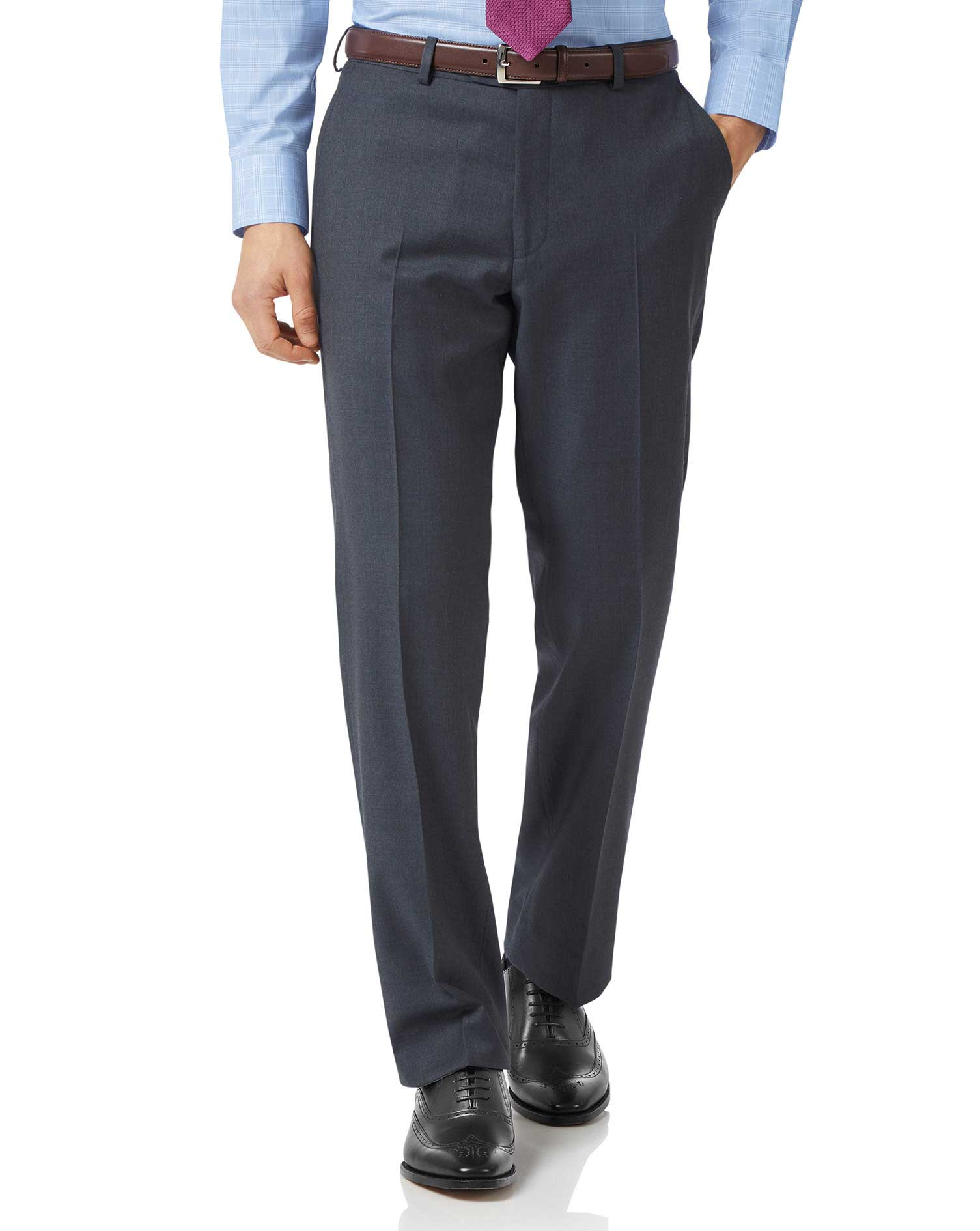 Steel Blue Classic Fit Twill Business Suit Trousers Size W38 L38 by Charles Tyrwhitt