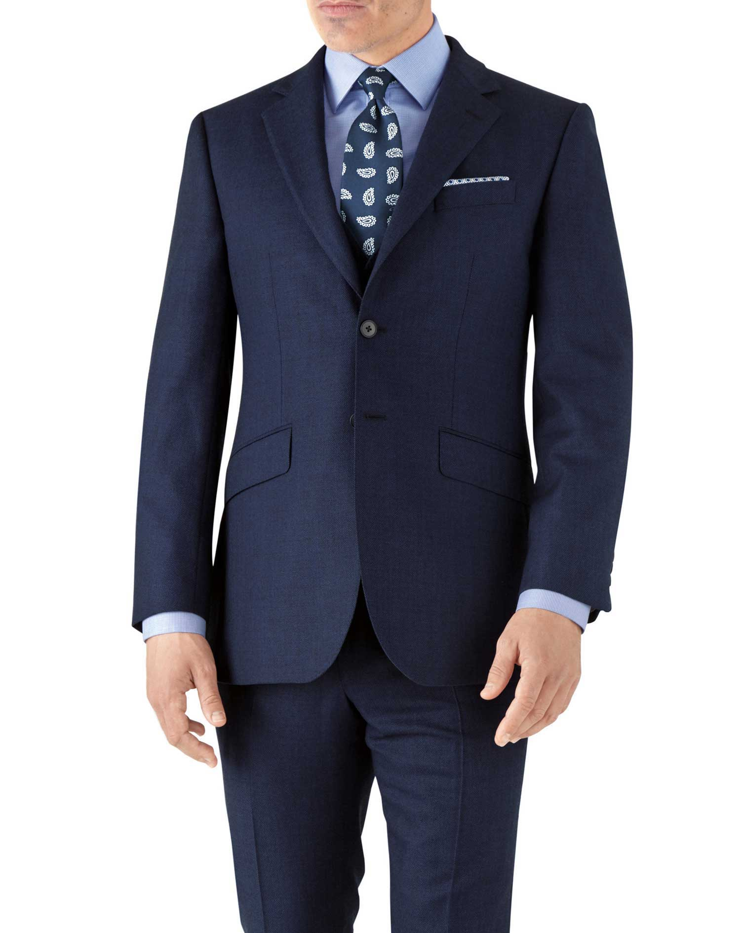 Royal Blue Slim Fit Flannel Business Suit Wool Jacket Size 42 Long by Charles Tyrwhitt