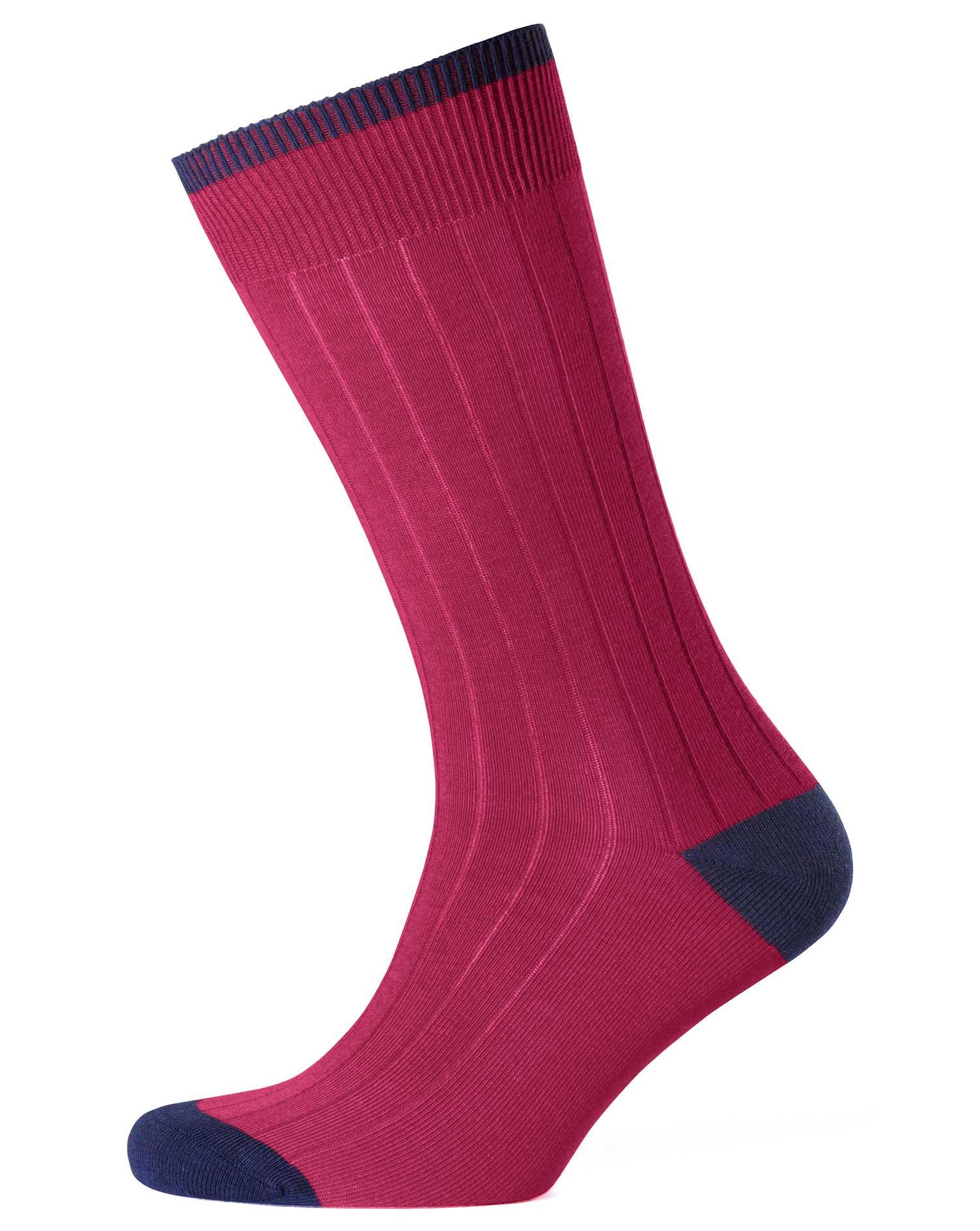 Dark Pink Ribbed Socks Size Medium by Charles Tyrwhitt