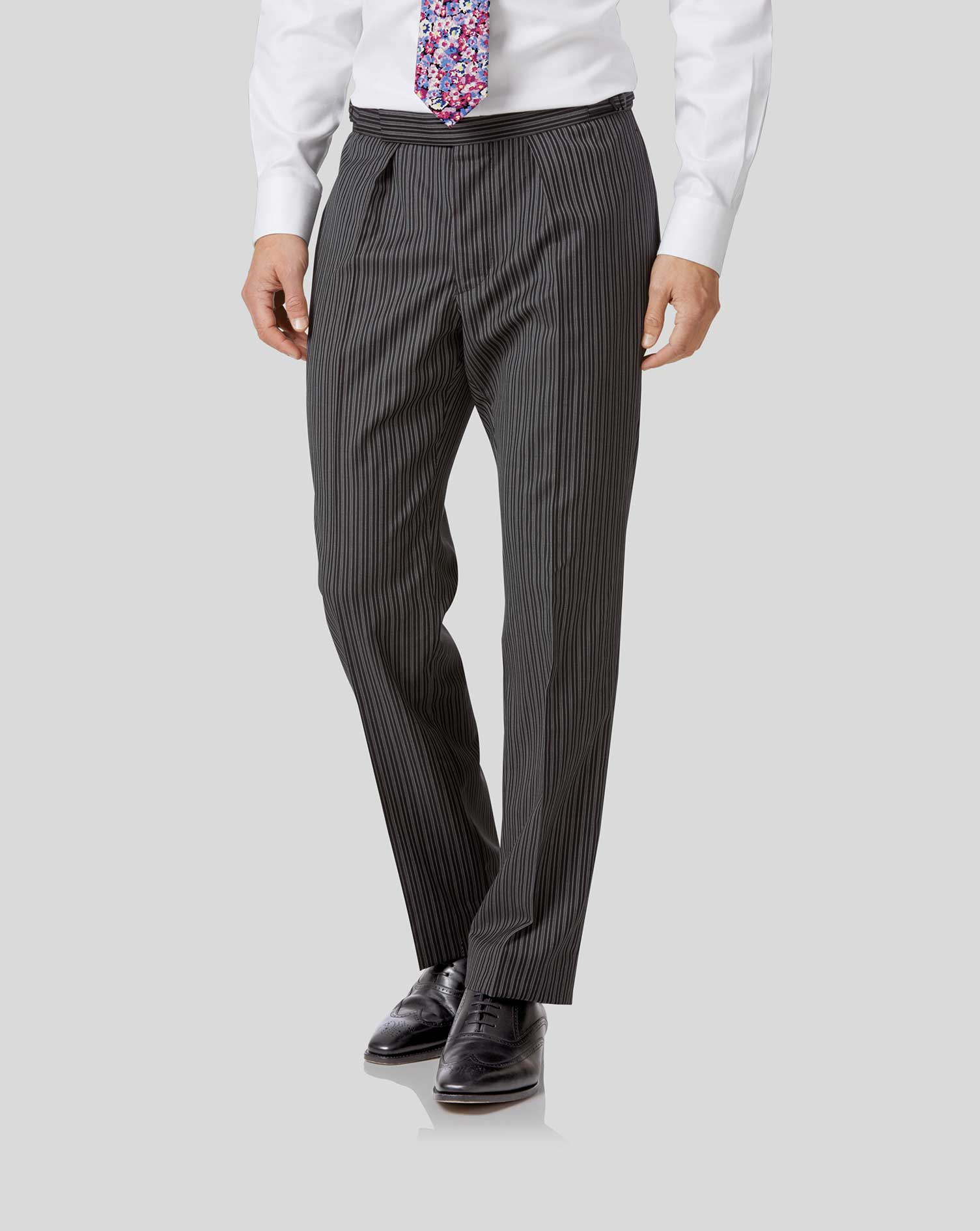 Black stripe classic fit morning suit pants