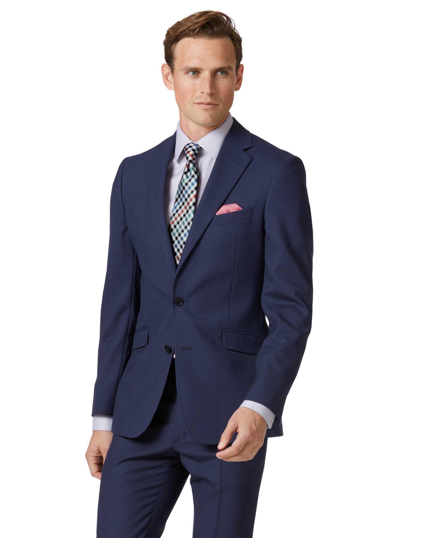 Royal Blue Extra Slim Fit Merino Business Suit Wool Jacket Size 42 Regular by Charles Tyrwhitt
