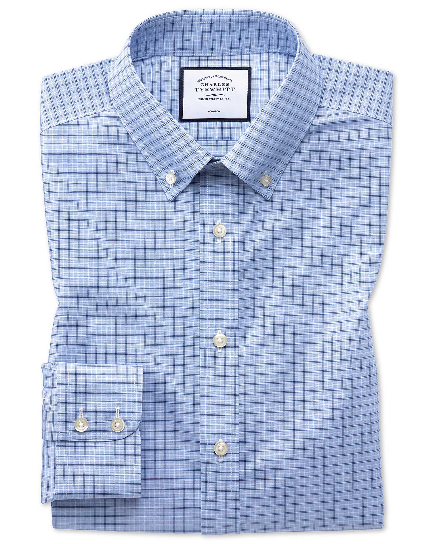Slim Fit Non-Iron Button-Down Sky Blue Check Cotton Formal Shirt Single Cuff Size 17/34 by Charles T