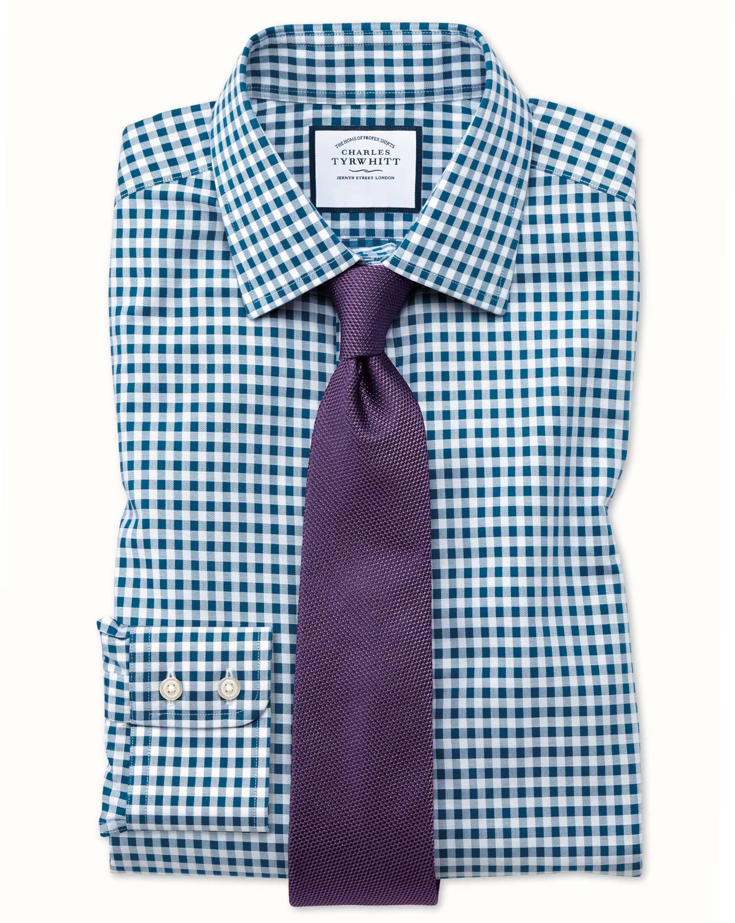 Extra Slim Fit Non-Iron Gingham Teal Cotton Formal Shirt Single Cuff Size 16/35 by Charles Tyrwhitt