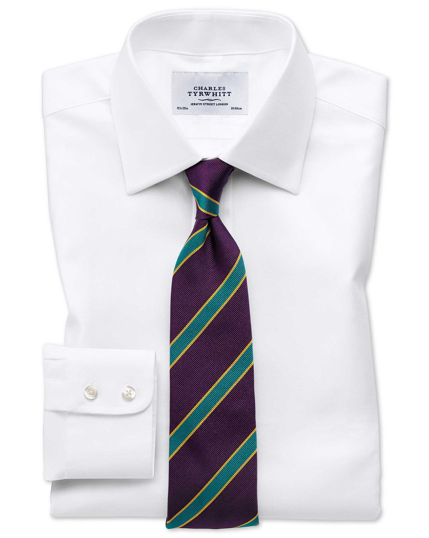 Slim fit egyptian cotton cavalry twill white shirt for Slim fit cotton shirts