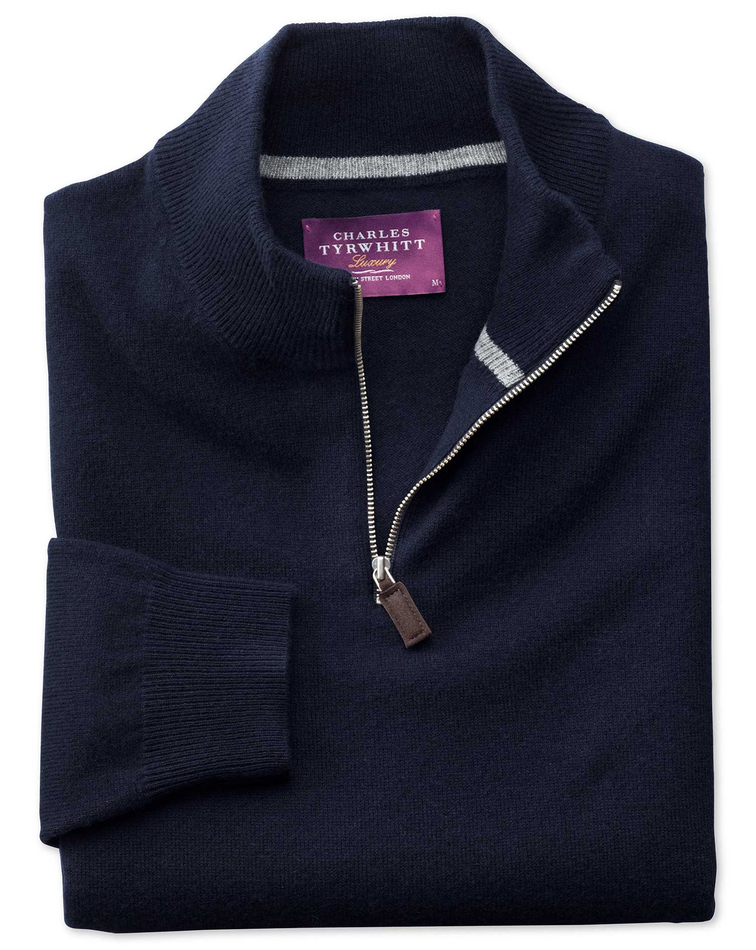 Navy Cashmere Zip Neck Jumper Size Medium by Charles Tyrwhitt