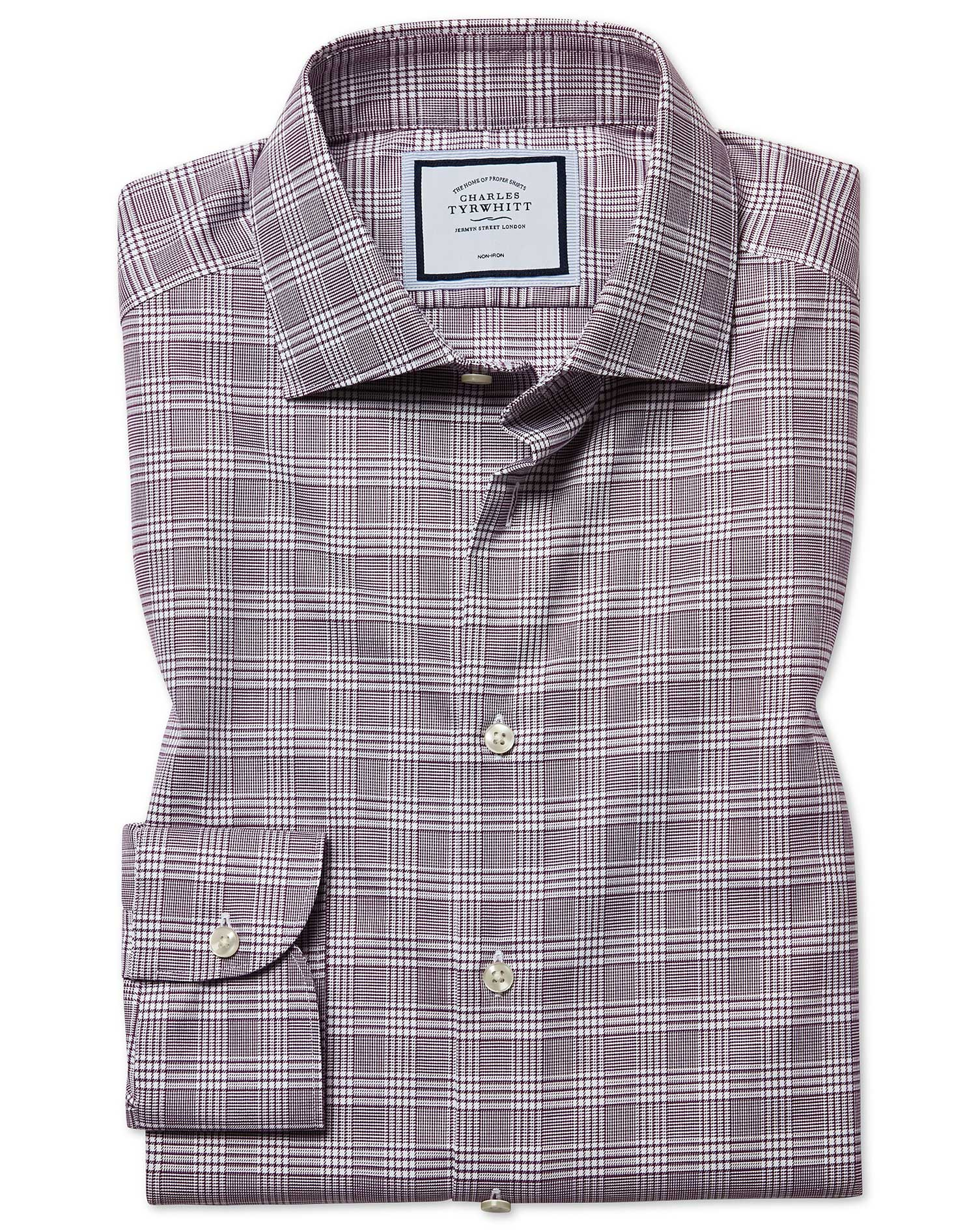 Classic Fit Non-Iron Natural Stretch Prince Of Wales Check Berry Cotton Formal Shirt Single Cuff Siz