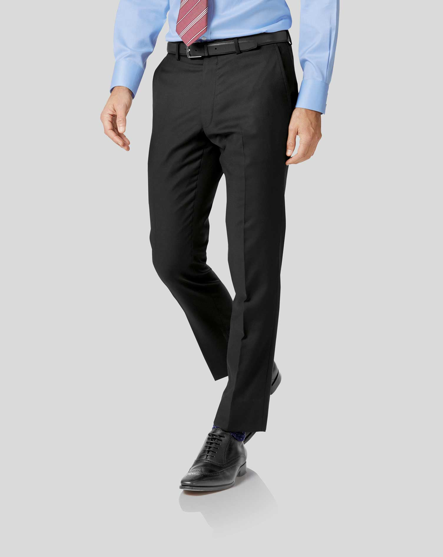 Black slim fit twill business suit pants