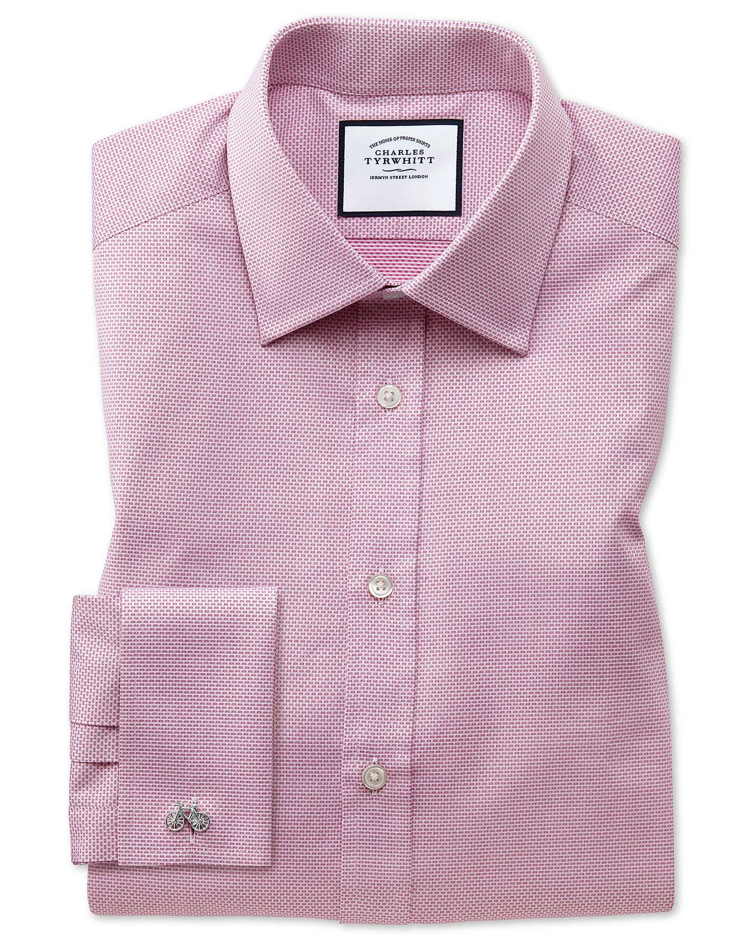Slim Fit Magenta Cube Weave Egyptian Cotton Formal Shirt Single Cuff Size 15.5/35 by Charles Tyrwhit