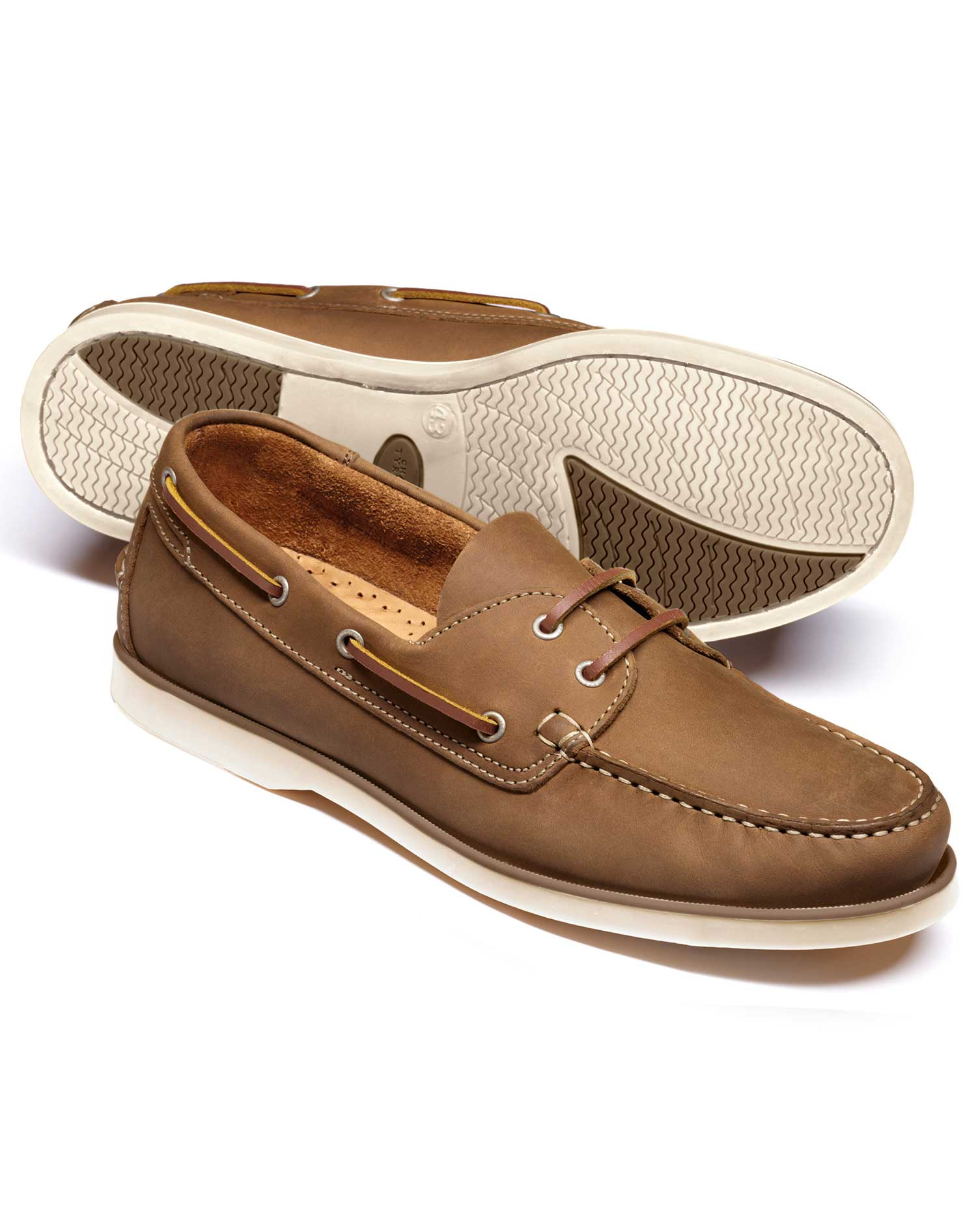 Tan Fowey Boat Shoes Size 7 R by Charles Tyrwhitt